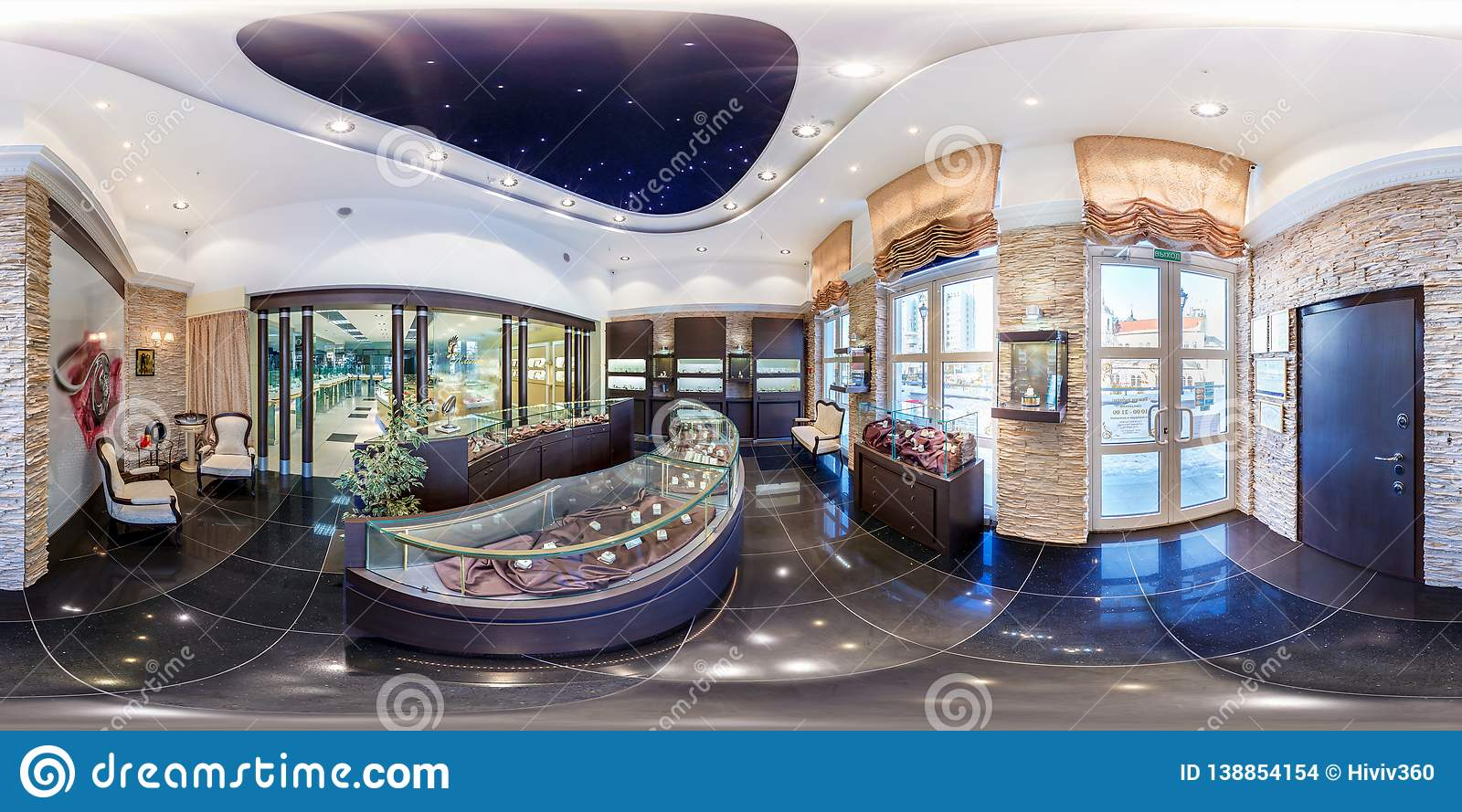 MINSK, BELARUS - FEBRUARY, 2013: Full seamless panorama 360 angle degrees view inside interior of luxury jewelry store in