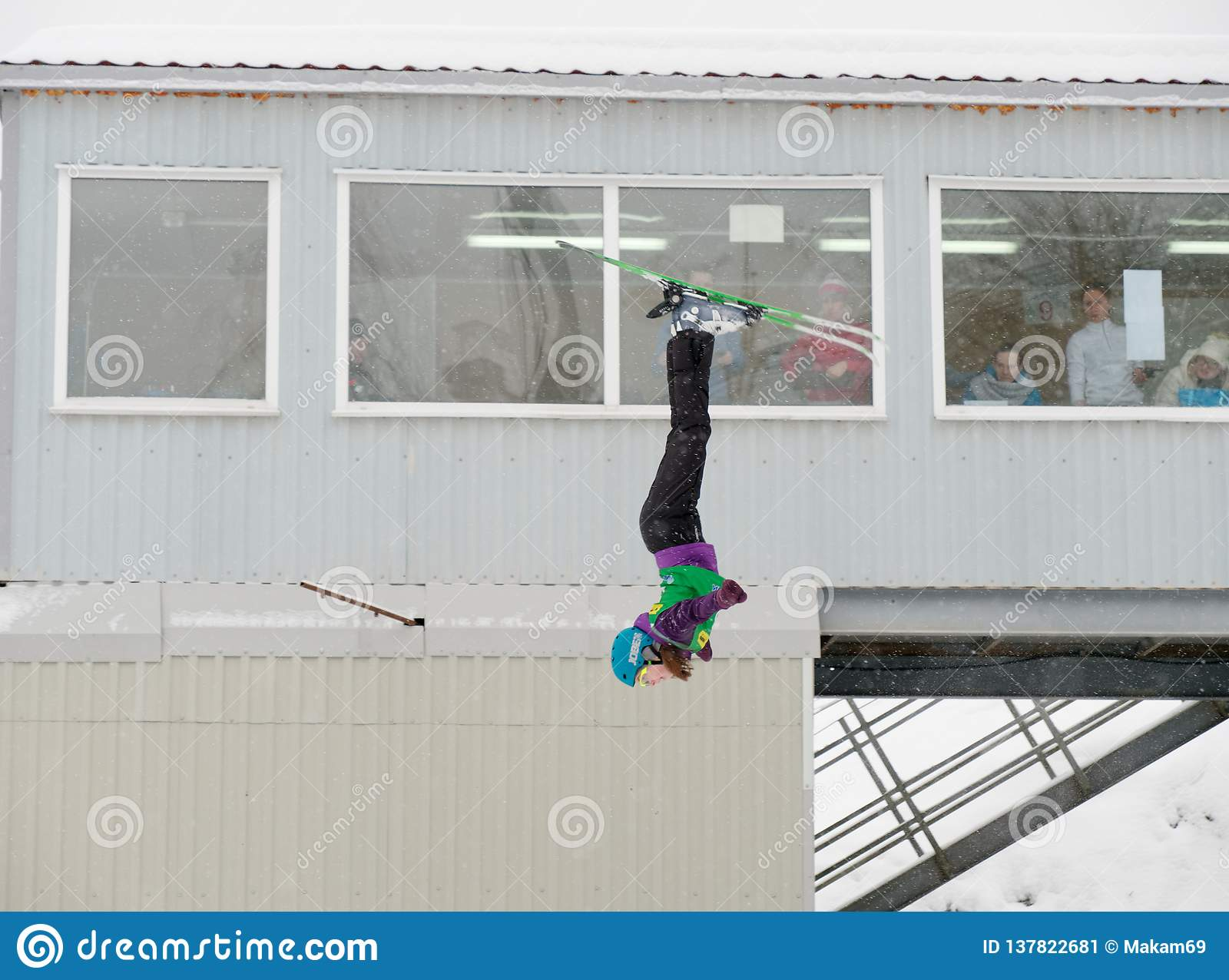 MINSK, BELARUS - JANUARY 26, 2019: Belarus freestyle championship among boys and girls born in 2001 and younger in the Sport