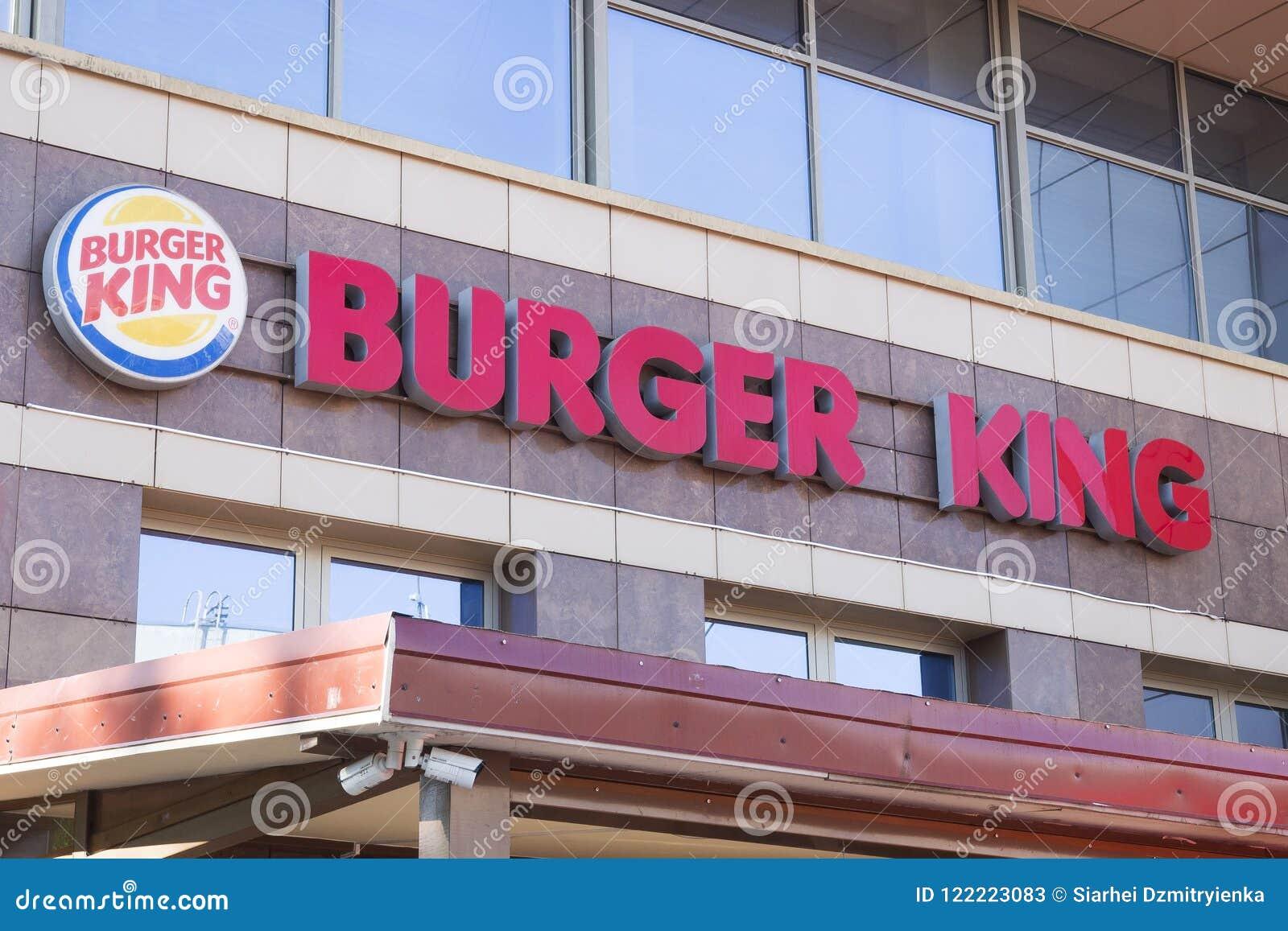 Minsk, Belarus - July 8, 2018: Inscription signboard burger king on the facade of the building in Minsk