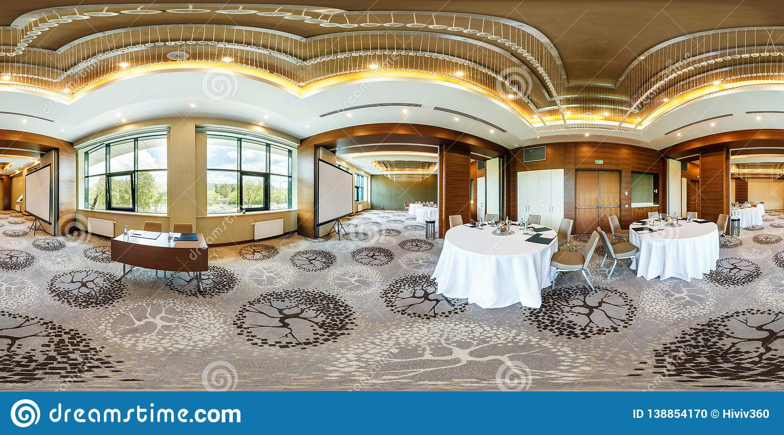 MINSK, BELARUS - JULY, 2017: panorama 360 angle view in interior of luxury empty conference hall for business meetings with