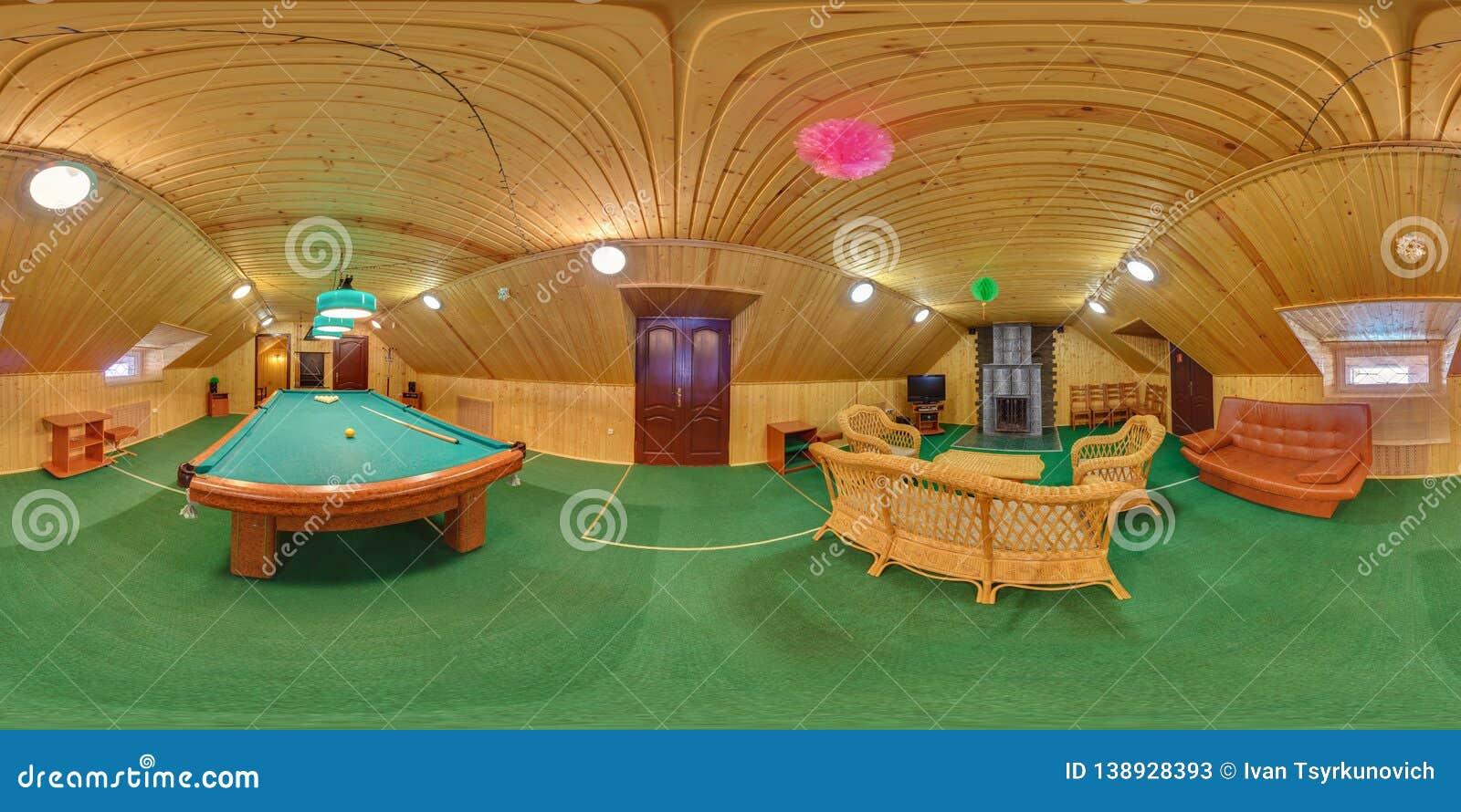 MINSK, BELARUS - JUNE 26, 2012: Panorama in interior billiard wooden hall. Full spherical 360 by 180 degrees seamless panorama in