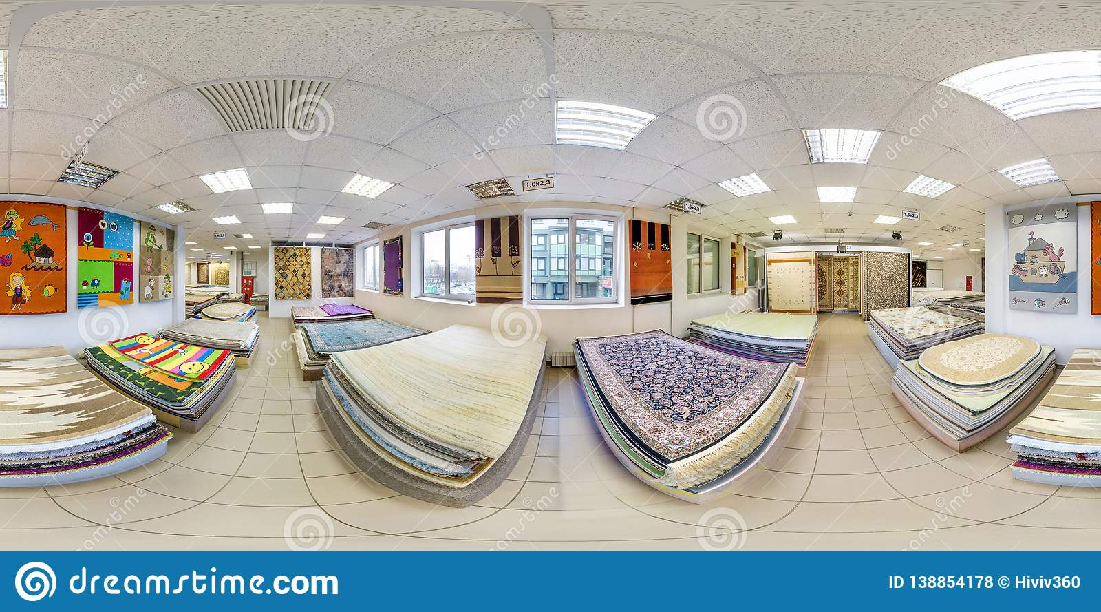 MINSK, BELARUS - MAY, 2017: Full seamless panorama 360 by 180 angle degrees view inside interior of store machine knitted