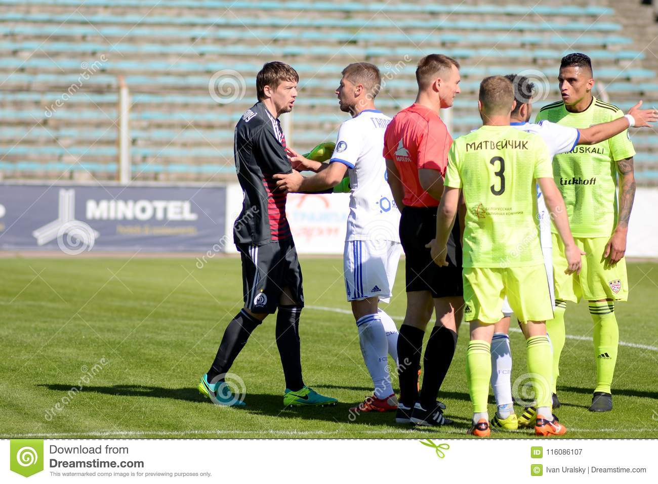 MINSK, BELARUS - MAY 6, 2018: Soccer players argue, conflict during the Belarusian Premier League football match between