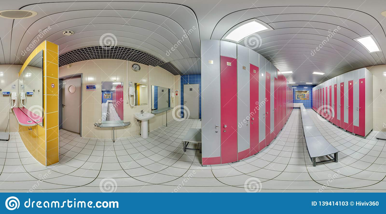 MINSK, BELARUS - SEPTEMBER, 2017: full seamless panorama 360 degrees angle view in modern locker room wardrobe in elite sport