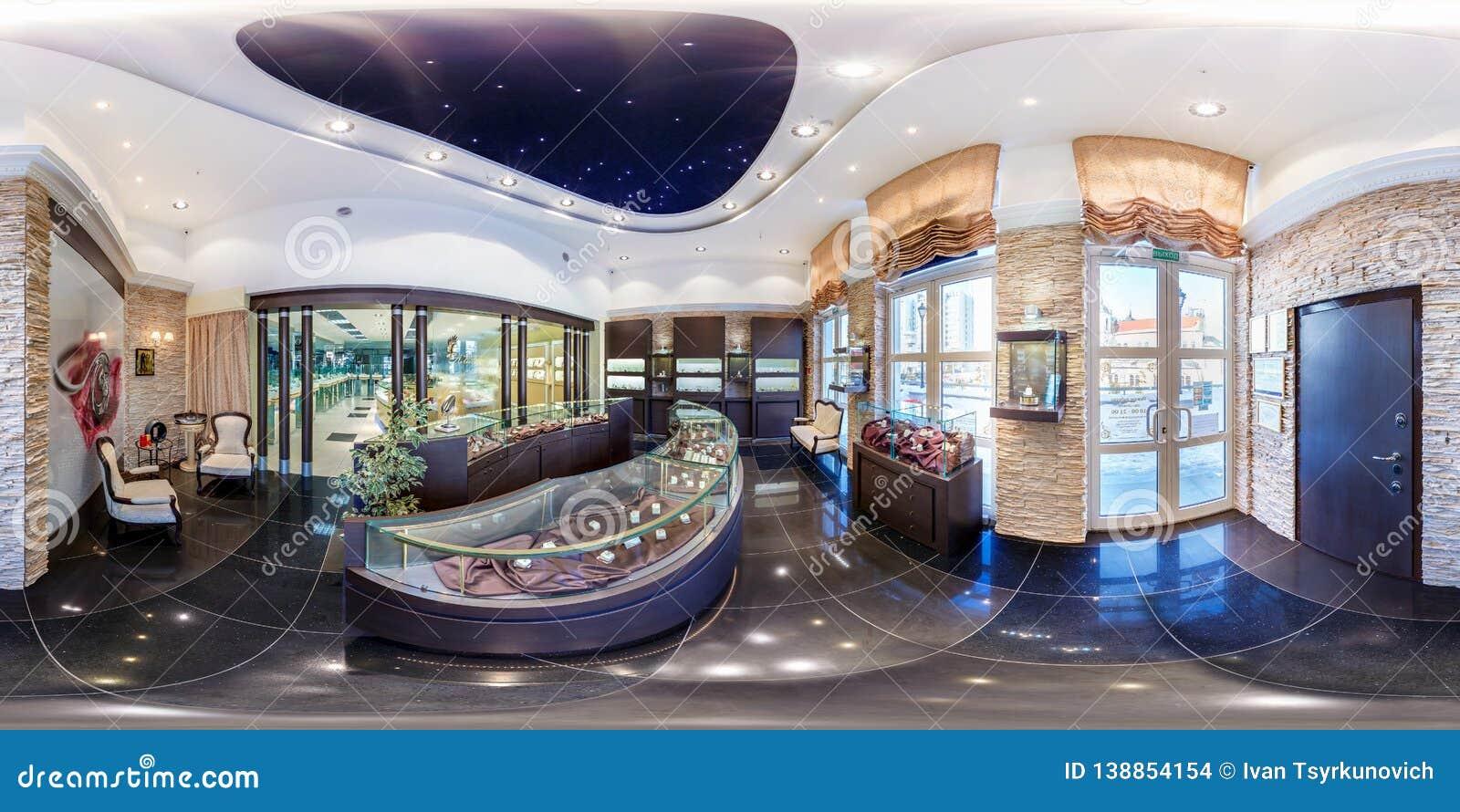 MINSK BIAŁORUŚ, LUTY, -, 2013: Pełny bezszwowy panoramy 360 kąta stopni widok wśrodku wnętrza luksusowy sklep jubilerski wewnątrz