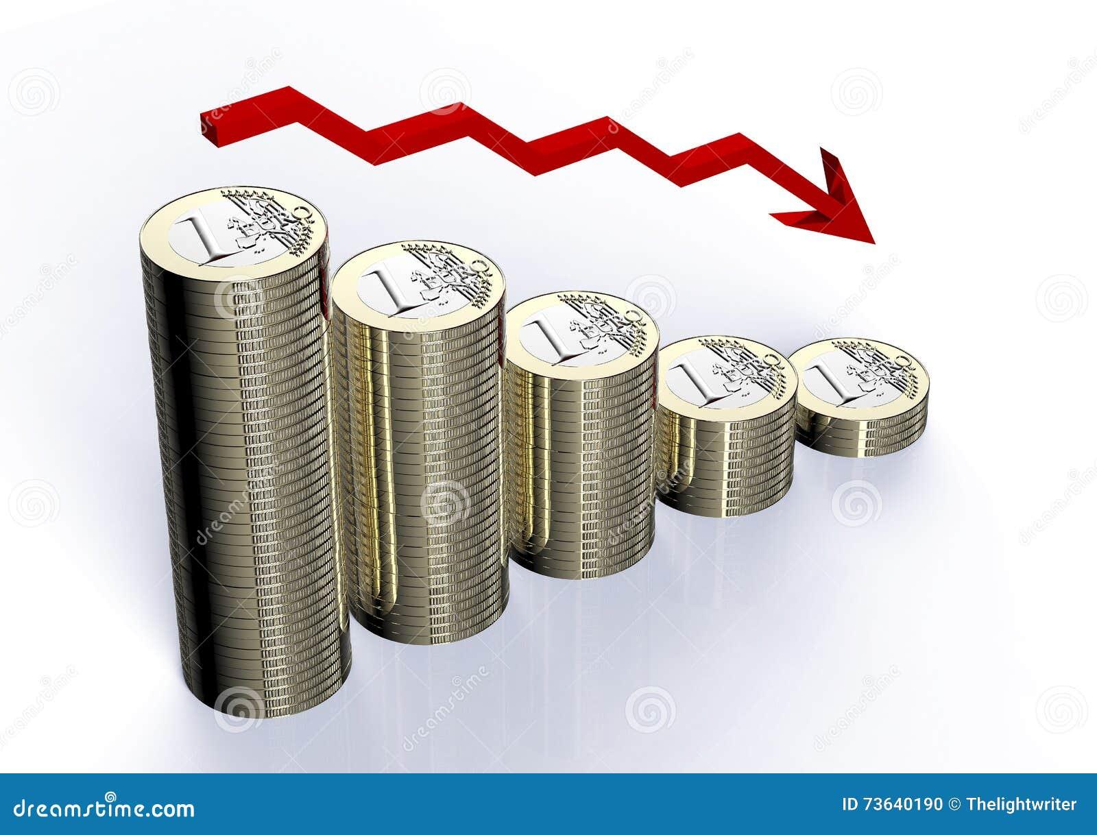 Minska bunten av euromynt med pilen