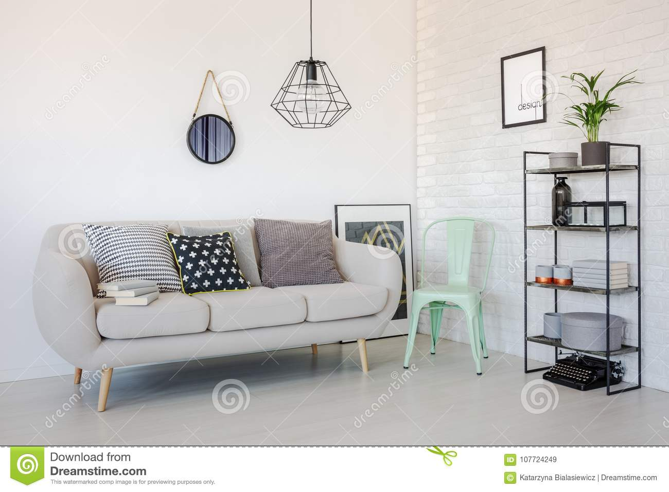 Mint chair in living room stock image. Image of chair - 107724249