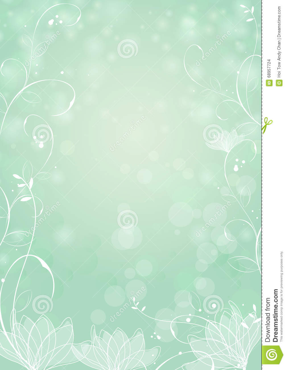 Mint Green Paper Bokeh Background With Lotus Stock Vector
