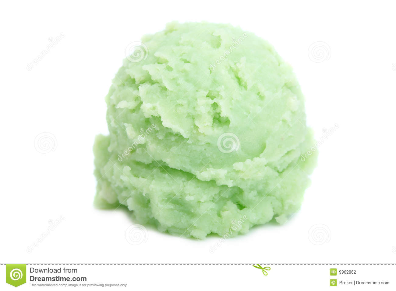 Delicious mint ice cream ball on white background. Shallow depth of ...