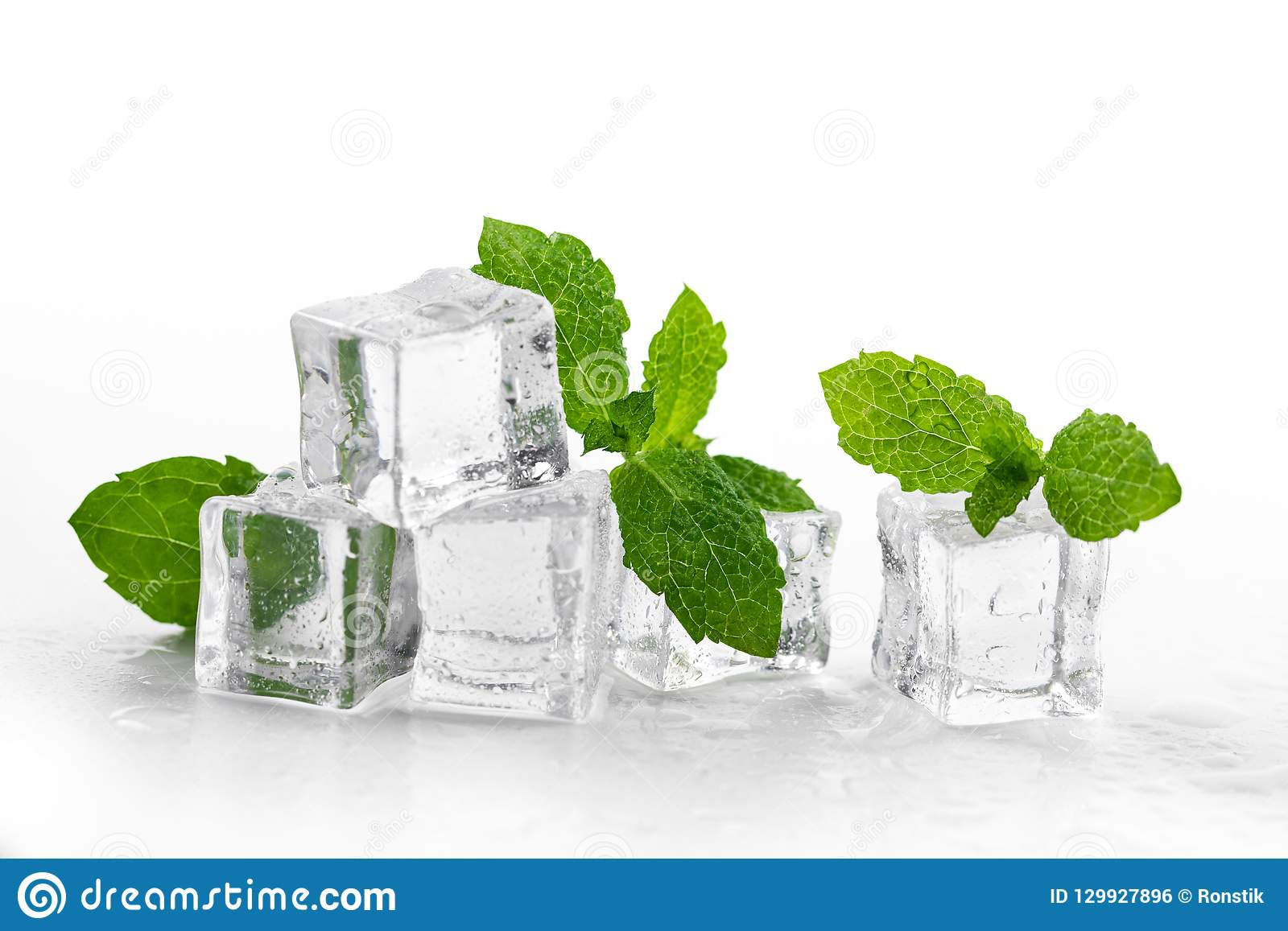 mint and ice cubes on white background