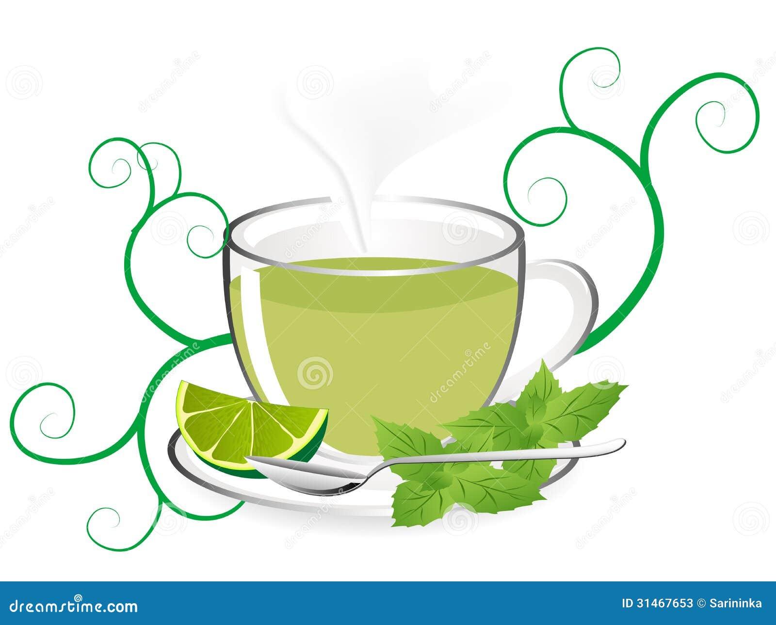 Glas teapot with fresh mint tea.