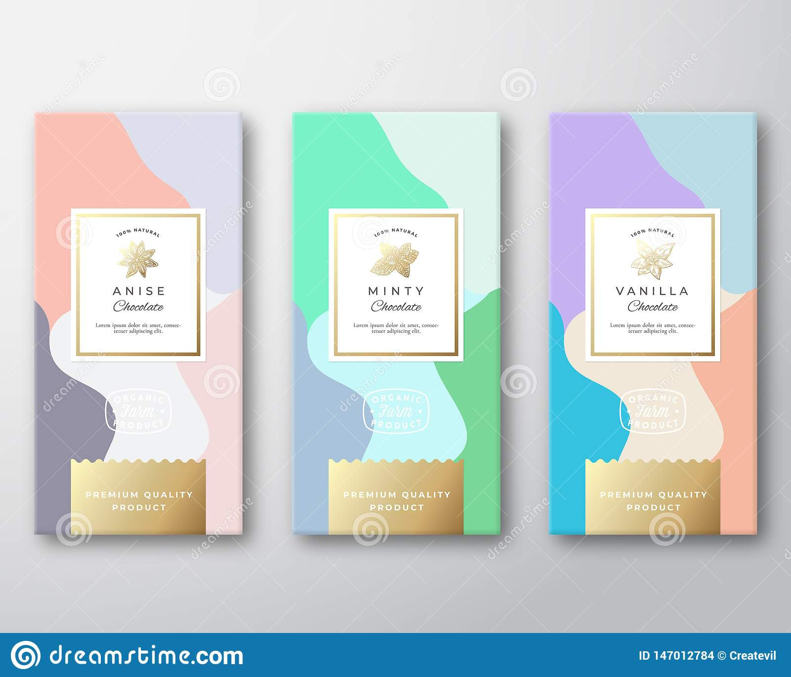 Mint Vanilla And Anise Chocolate Labels Set Abstract Vector
