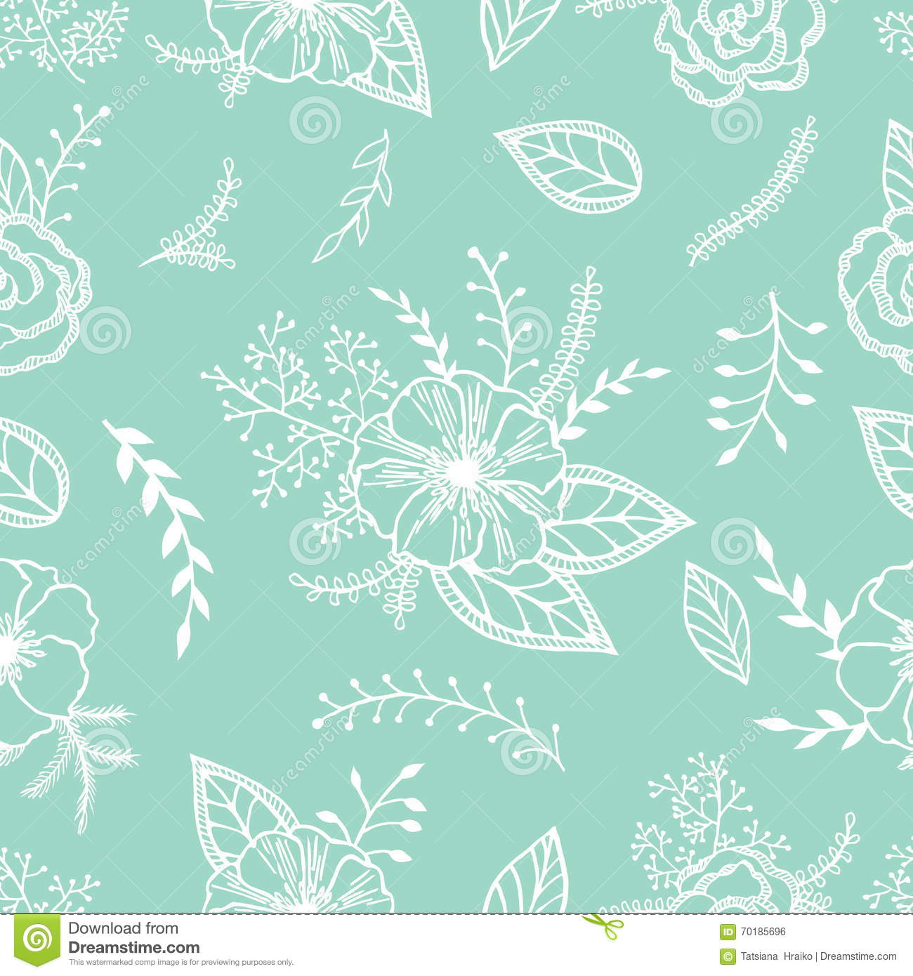 Mint And White Seamless Pattern With Anemones Roses And Leaves On