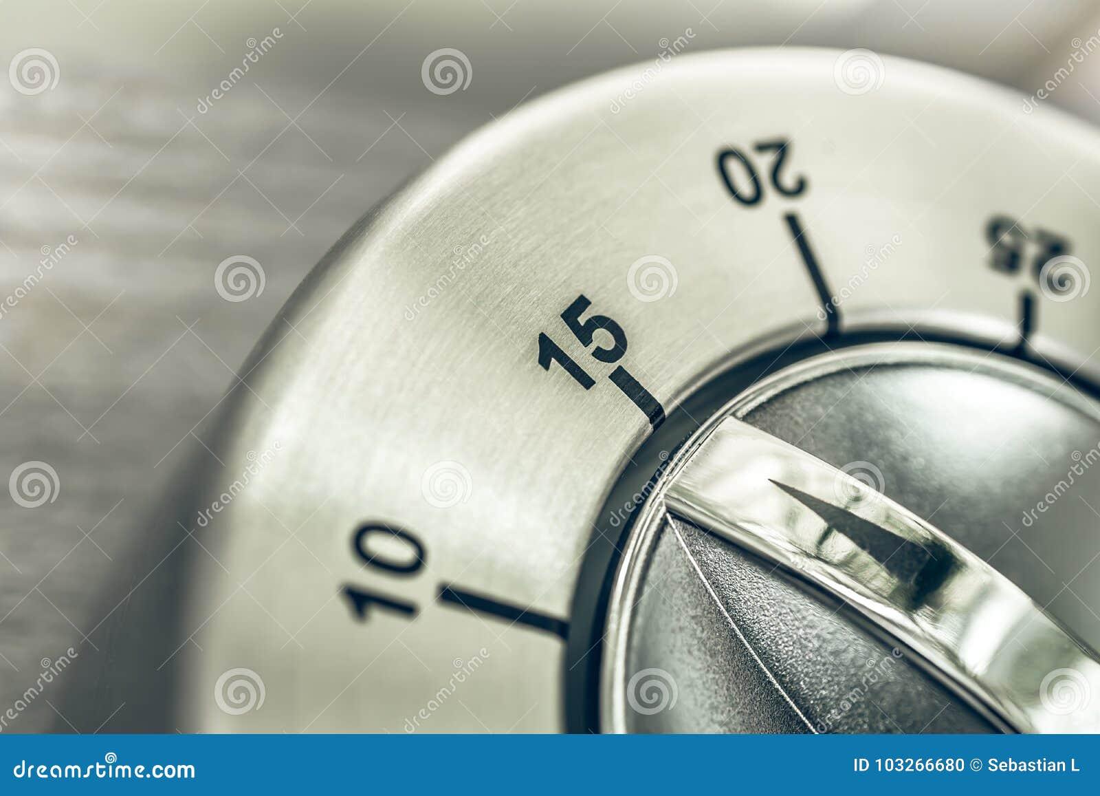 15 Minuten - Viertel-Stunden- Makro Eines Analogen Chrome-Küchen ...