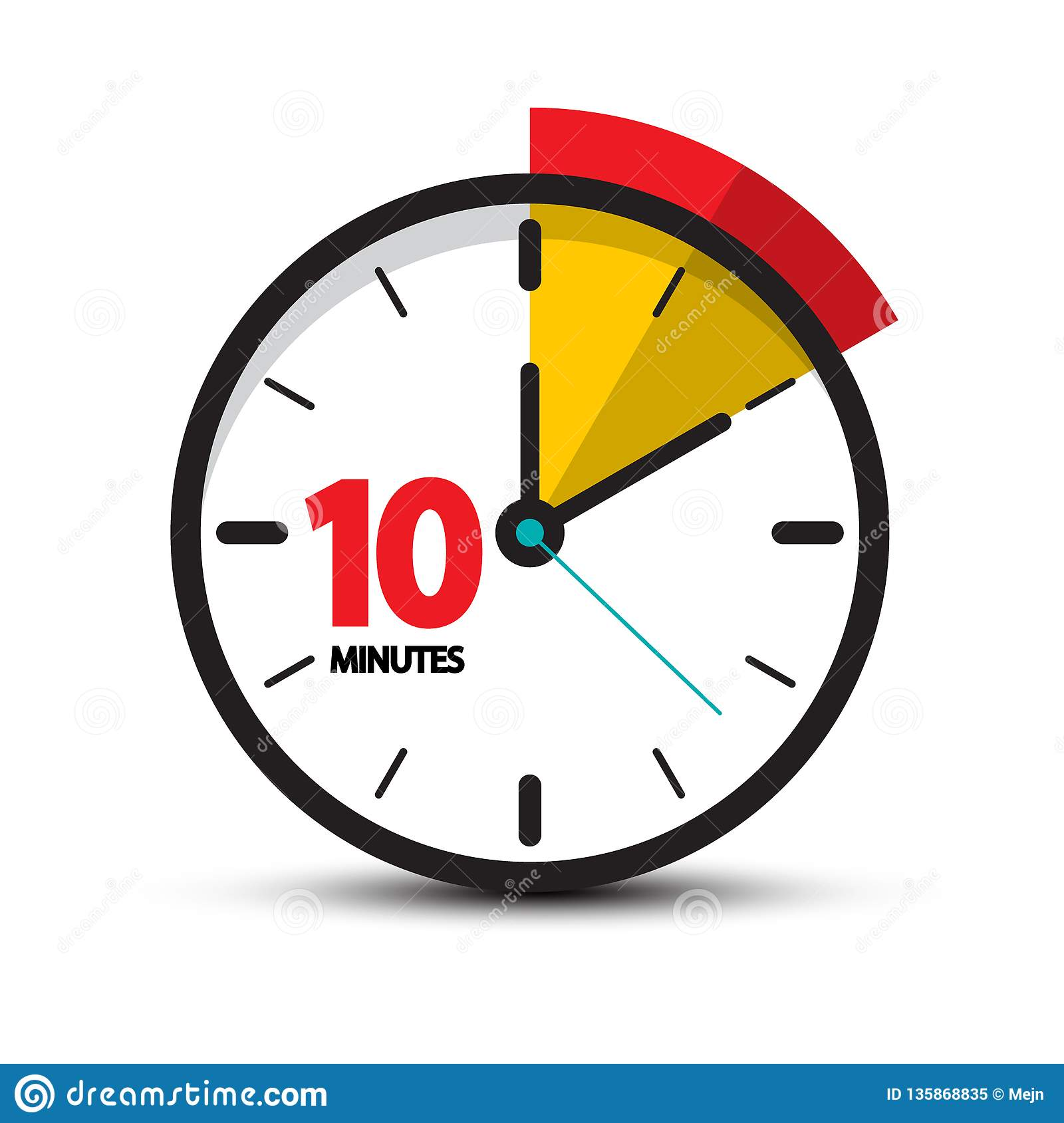 10 minutes clock face vector ten minute icon stock vector