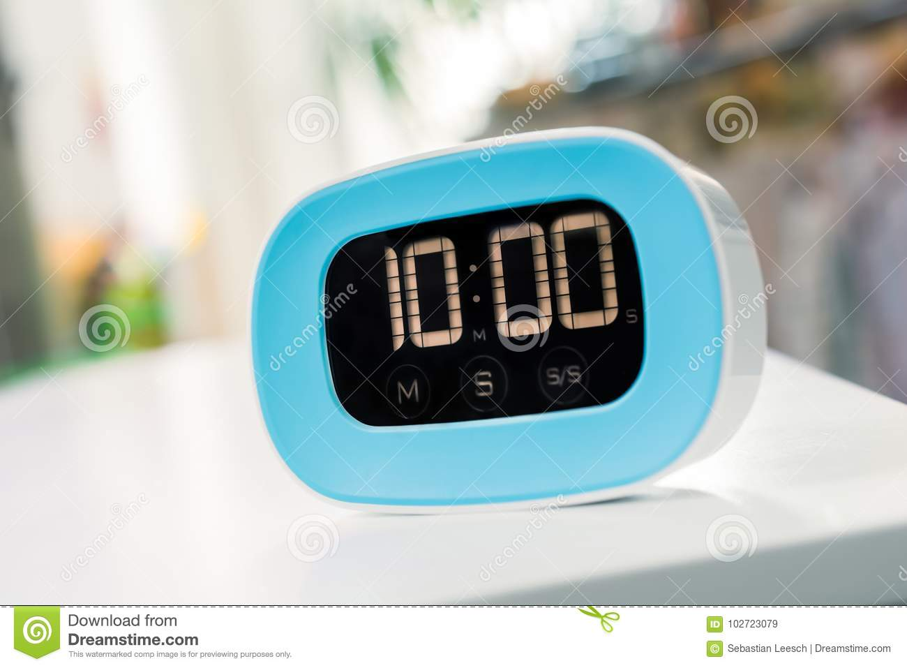 Timer With About 10 Minutes Digital Blue Kitchen On White Table Stock Image
