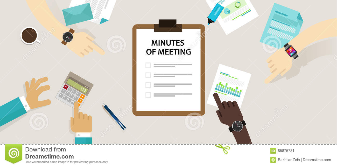 minutes of meeting document paper write pen about summary of communication in office stock photo