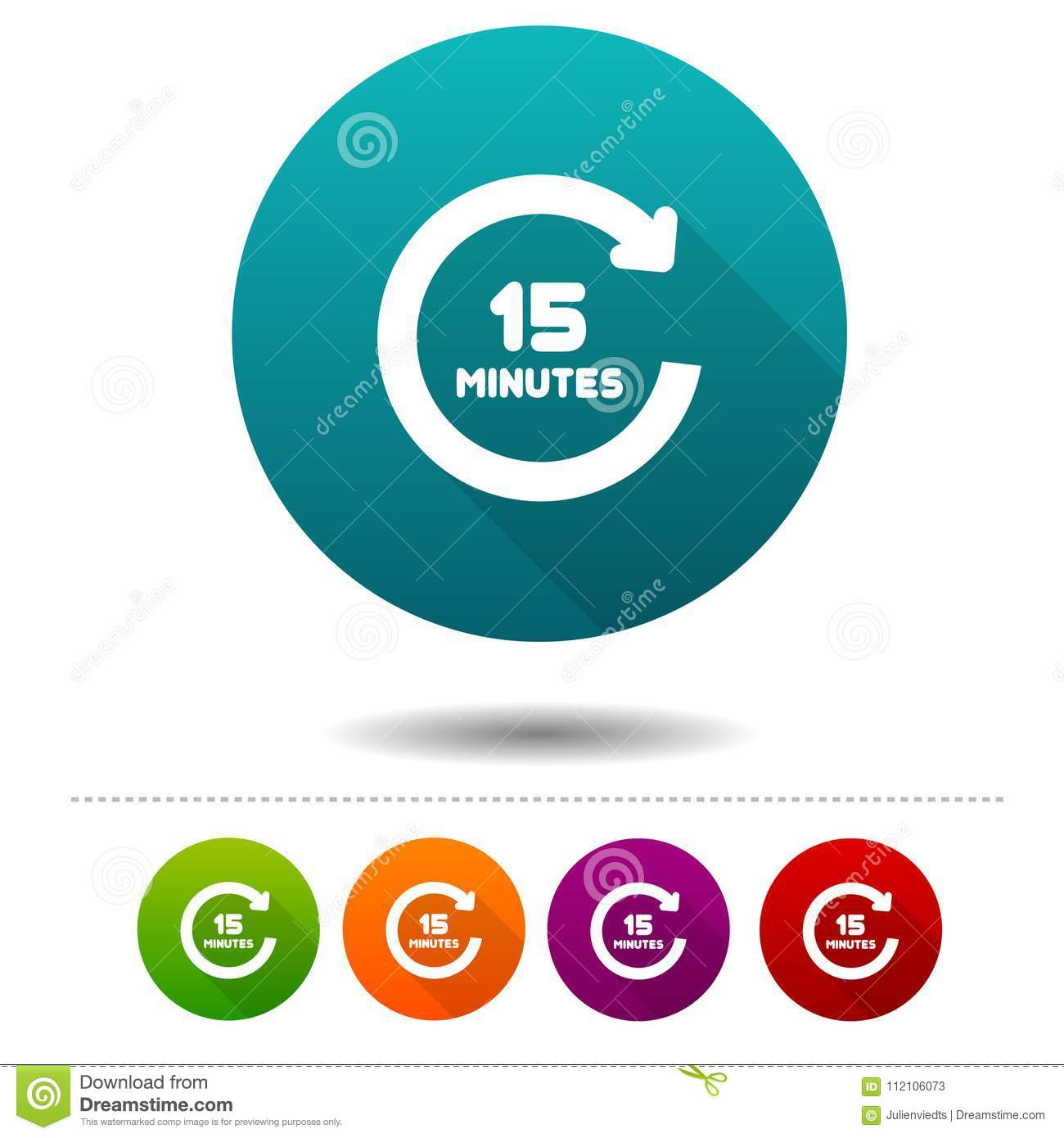 15 minutes rotation icon timer symbol sign web button stock