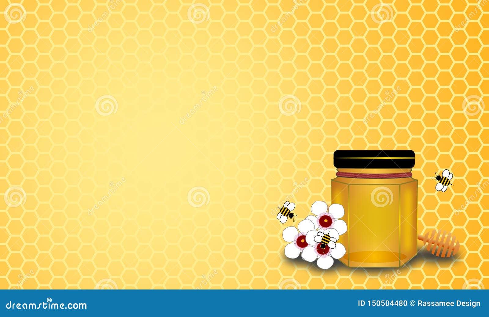 Miodowa butelka i honeycomb z trzy pszczołami na manuaka kwitniemy
