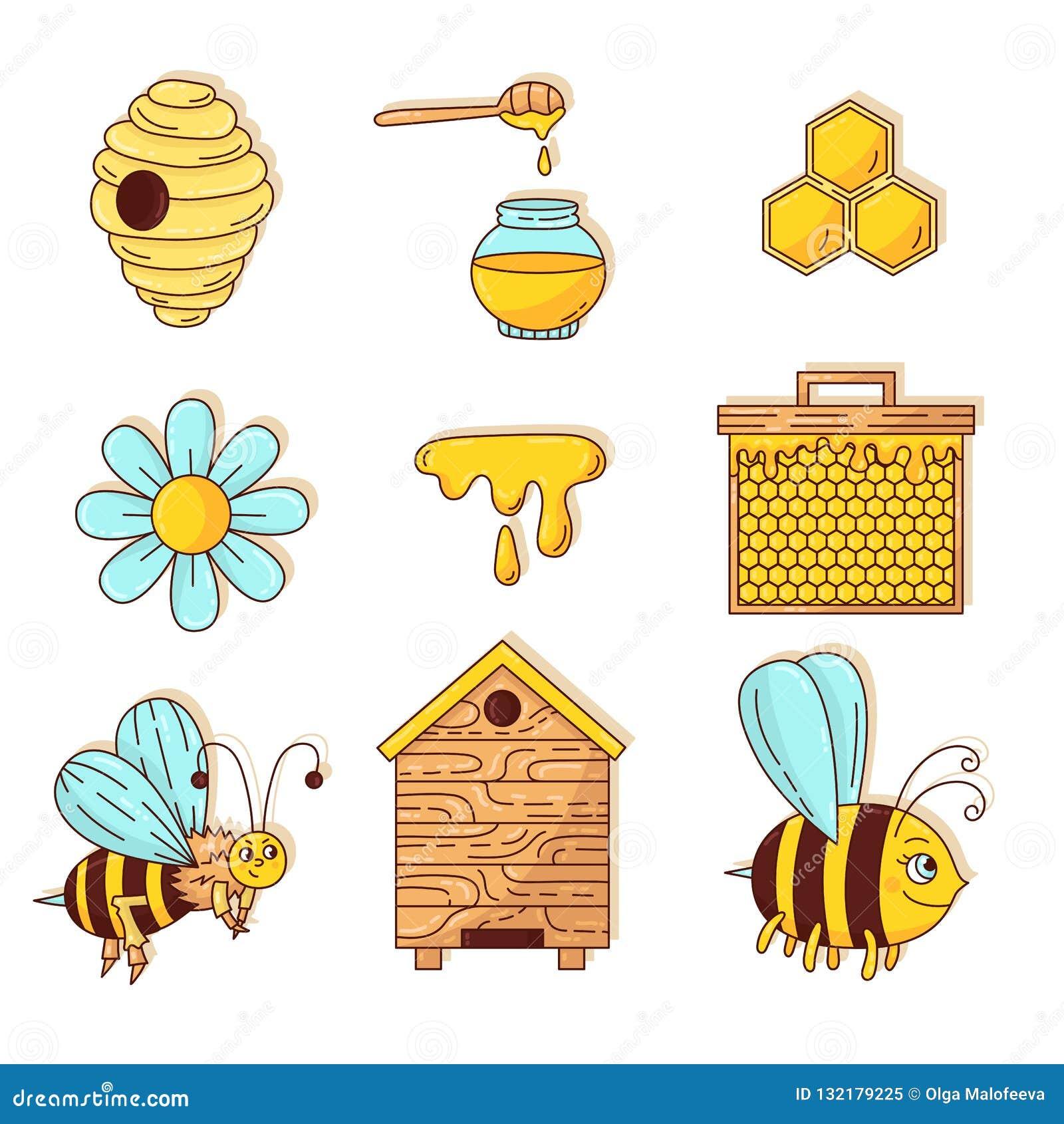 Miodowych pszczół ikon doodle kreskówki wektoru śliczny set