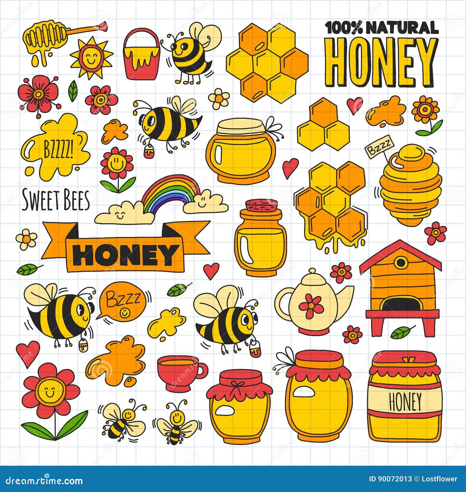 Miodu rynek, bazar, miodowi uczciwi Doodle wizerunki pszczoły, kwiaty, słoje, honeycomb, ul, punkt baryłka z literowaniem