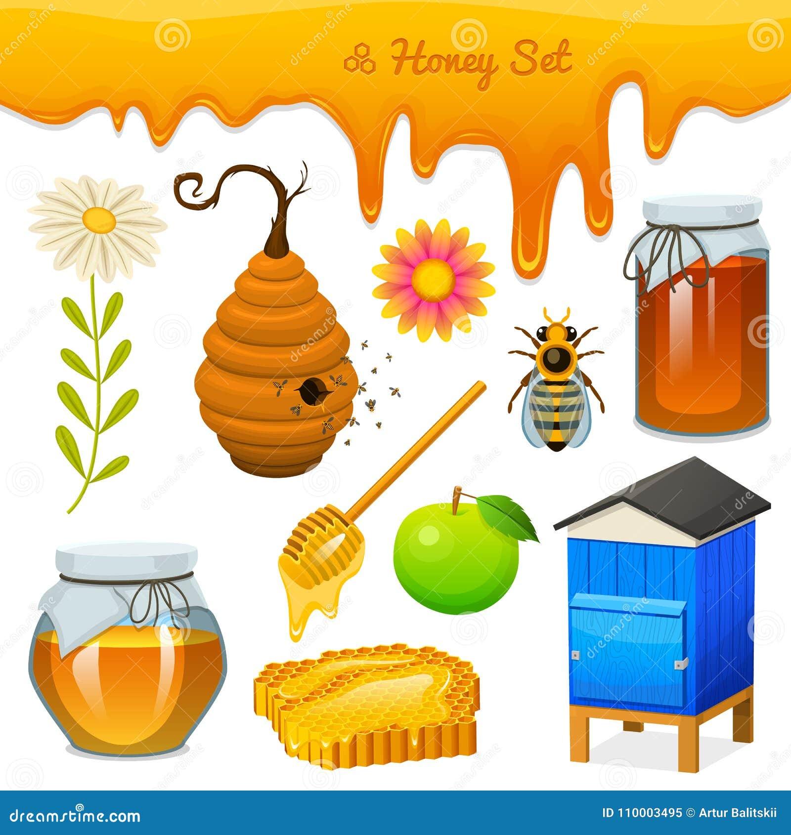 Miodu set, pszczoła, rój, łyżka, honeycomb, rój i pasieka, Naturalny produkt rolniczy beekeeping lub ogród, kwiat