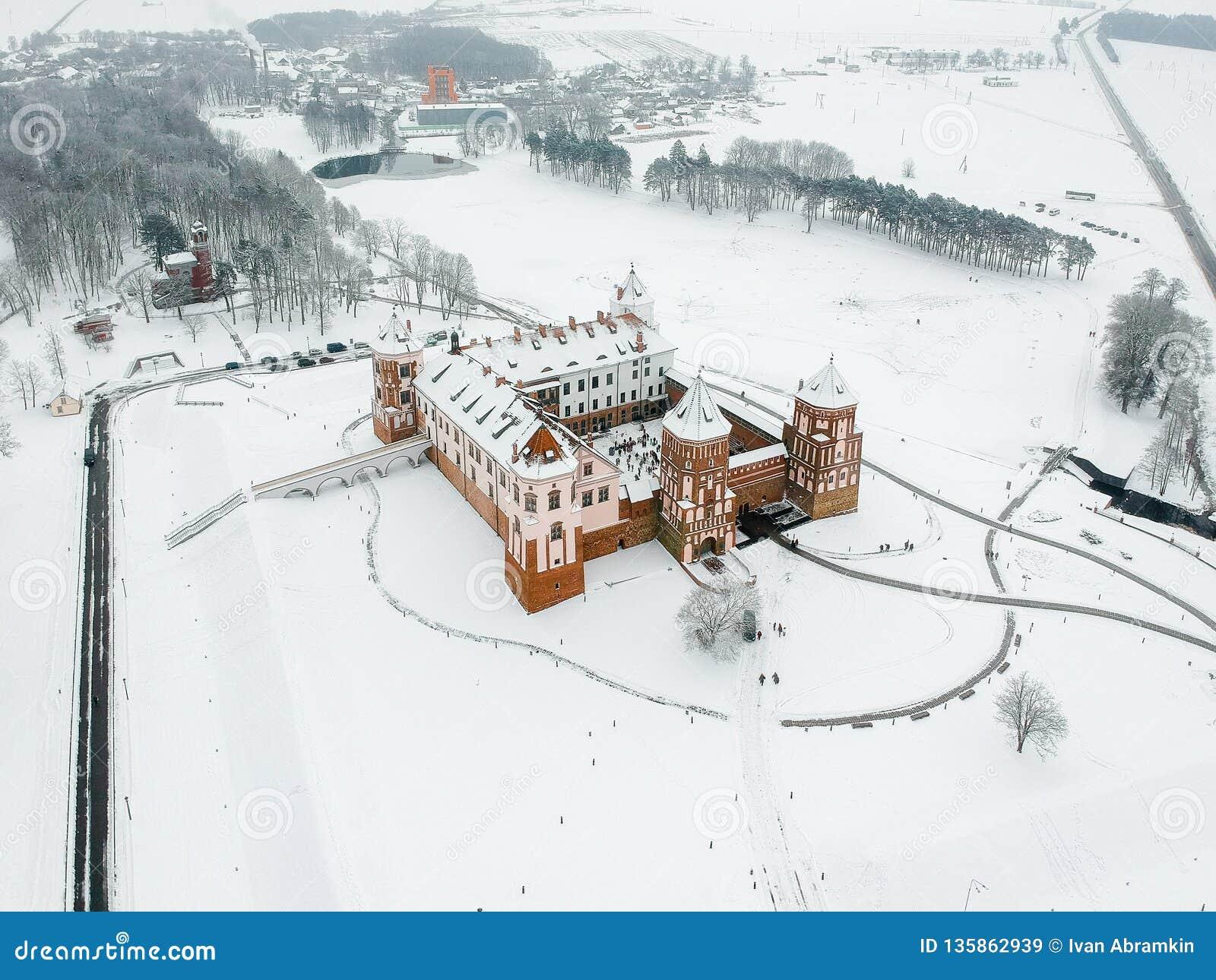 Mir Castle i Vitryssland Vinter Surrfoto