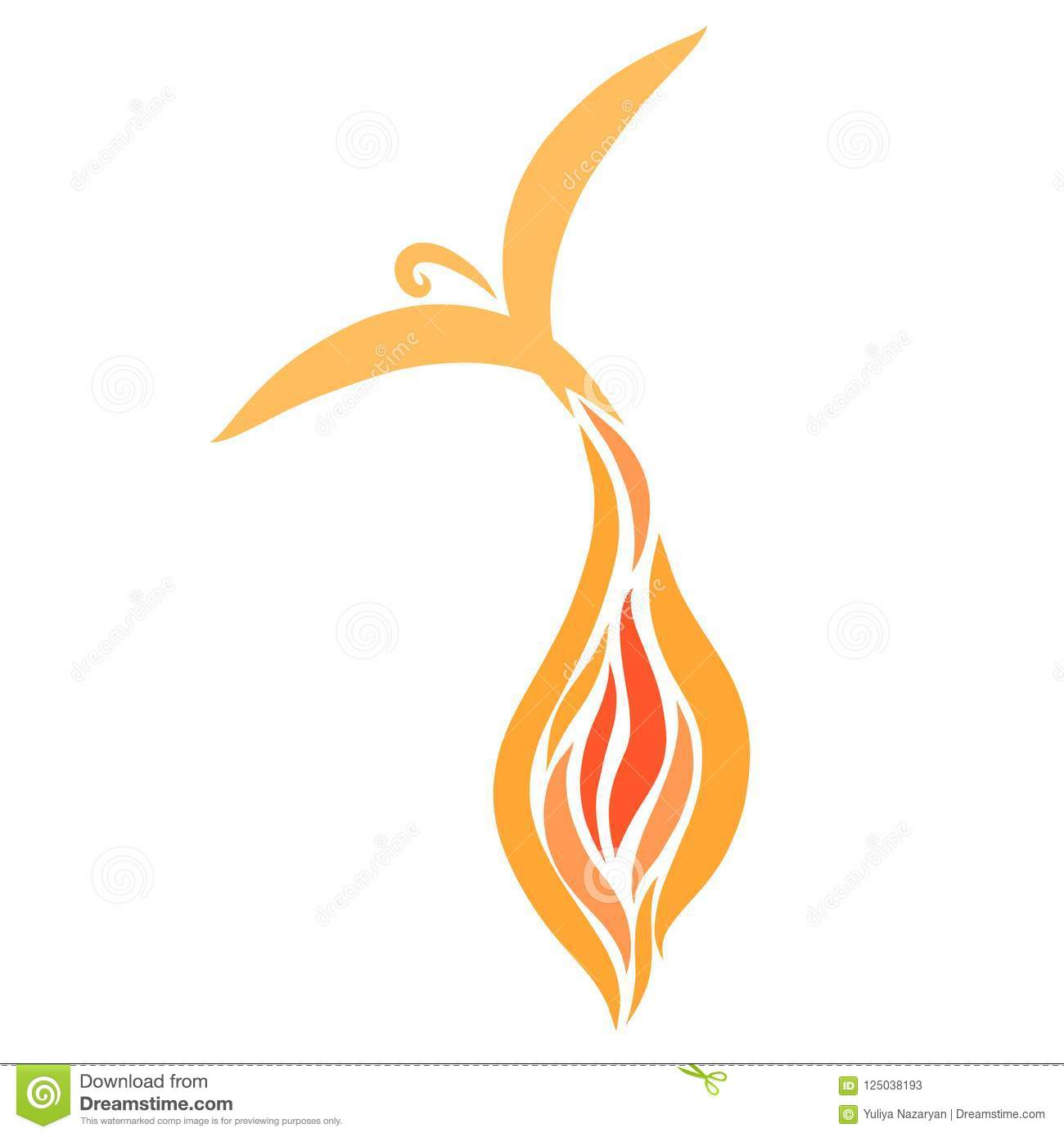 Miracle bird flying out of a flame of fire