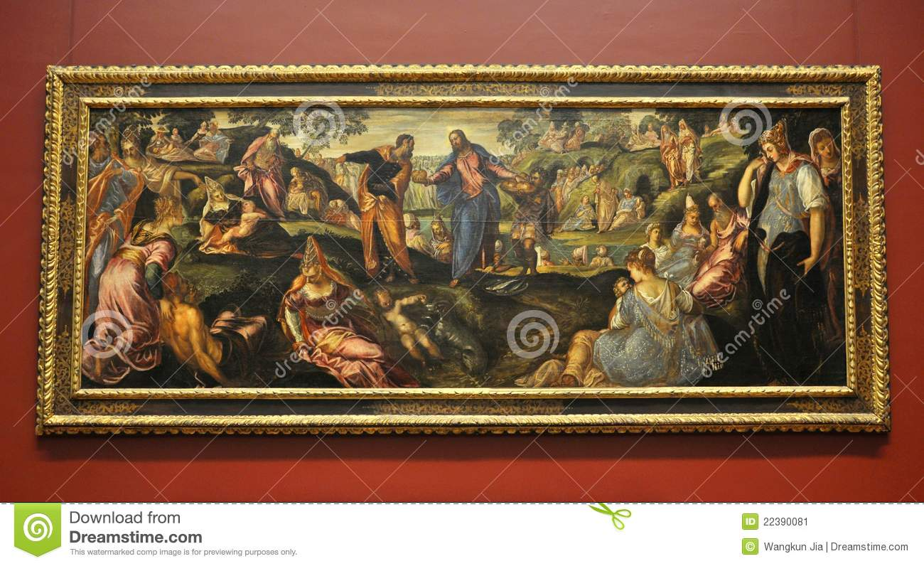 The Miracle Of Loaves And Fishes By Tintoretto Editorial