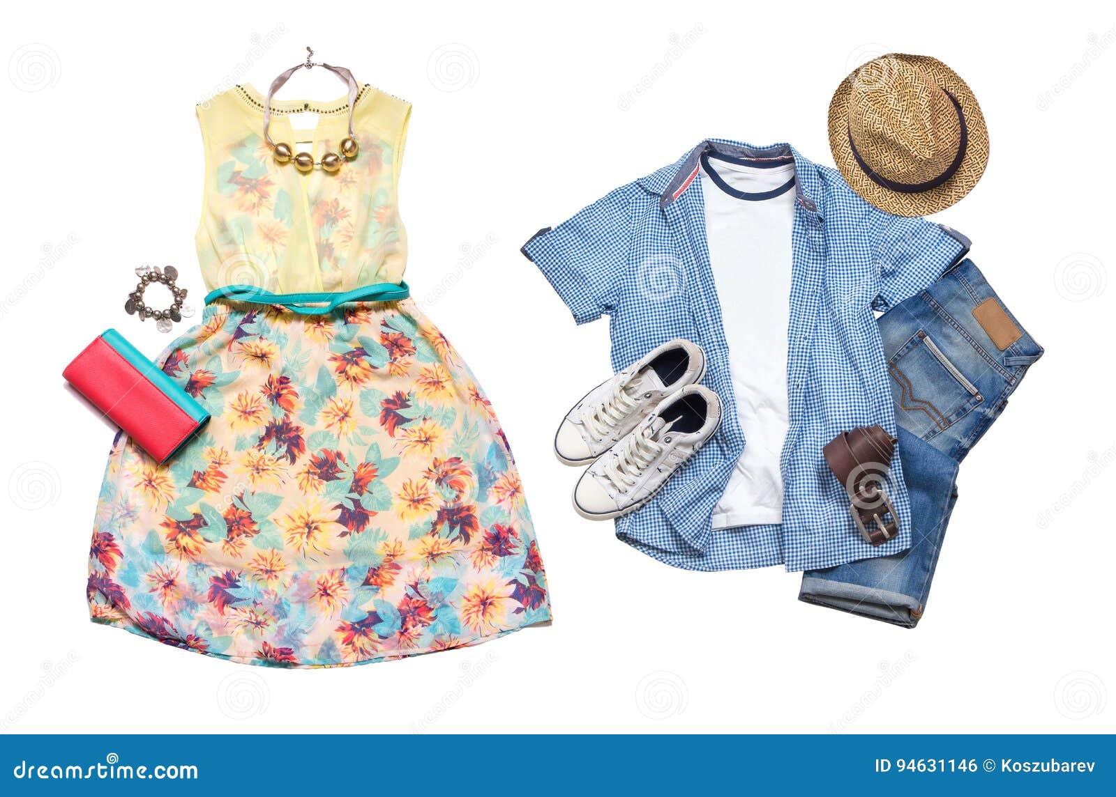 27b78edc25 Mirada del verano Colección del ` s de los hombres y de ropa del ` s de las  mujeres Aislado en el fondo blanco