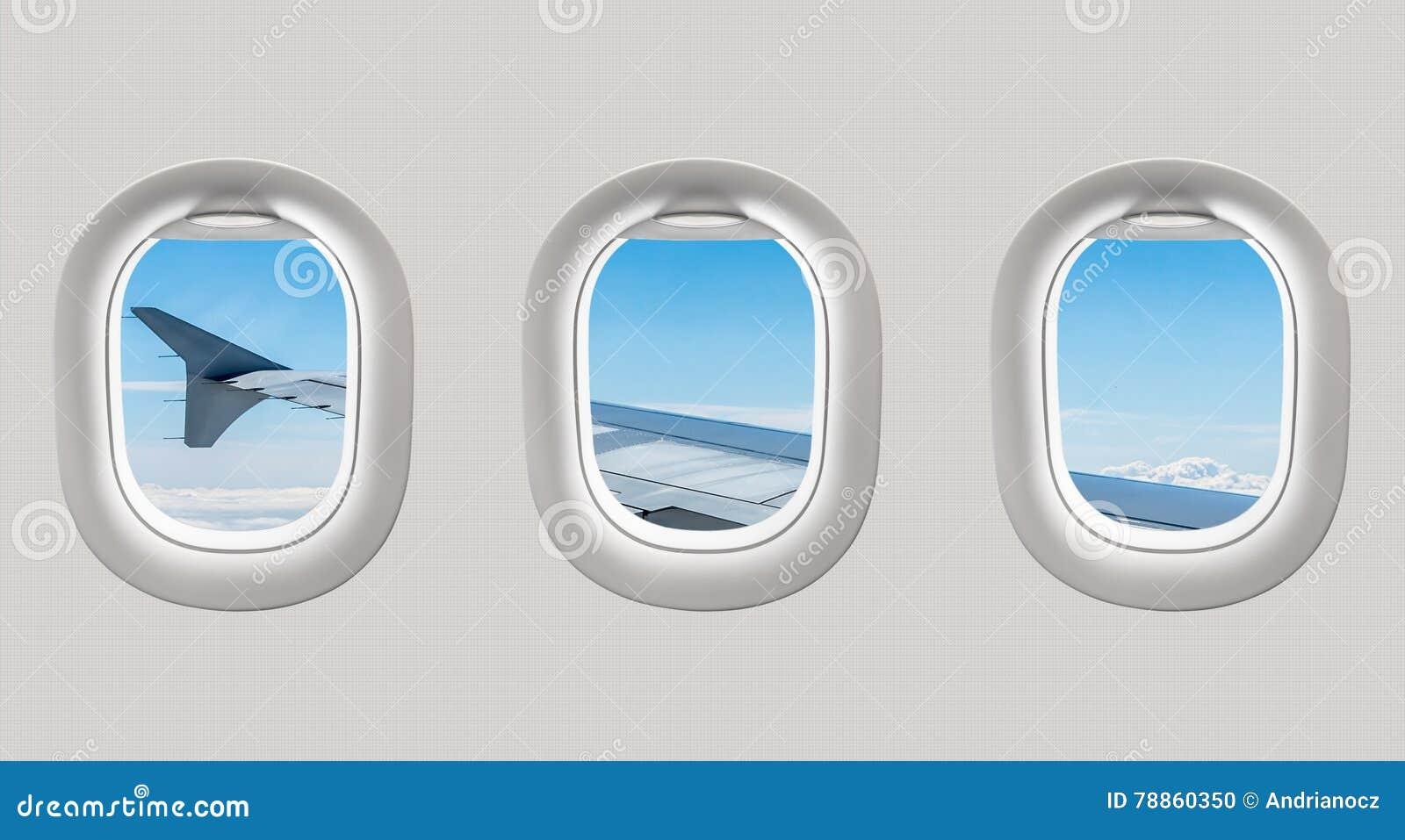 Mirada hacia fuera de las ventanas de un avión al ala de aviones y al clou
