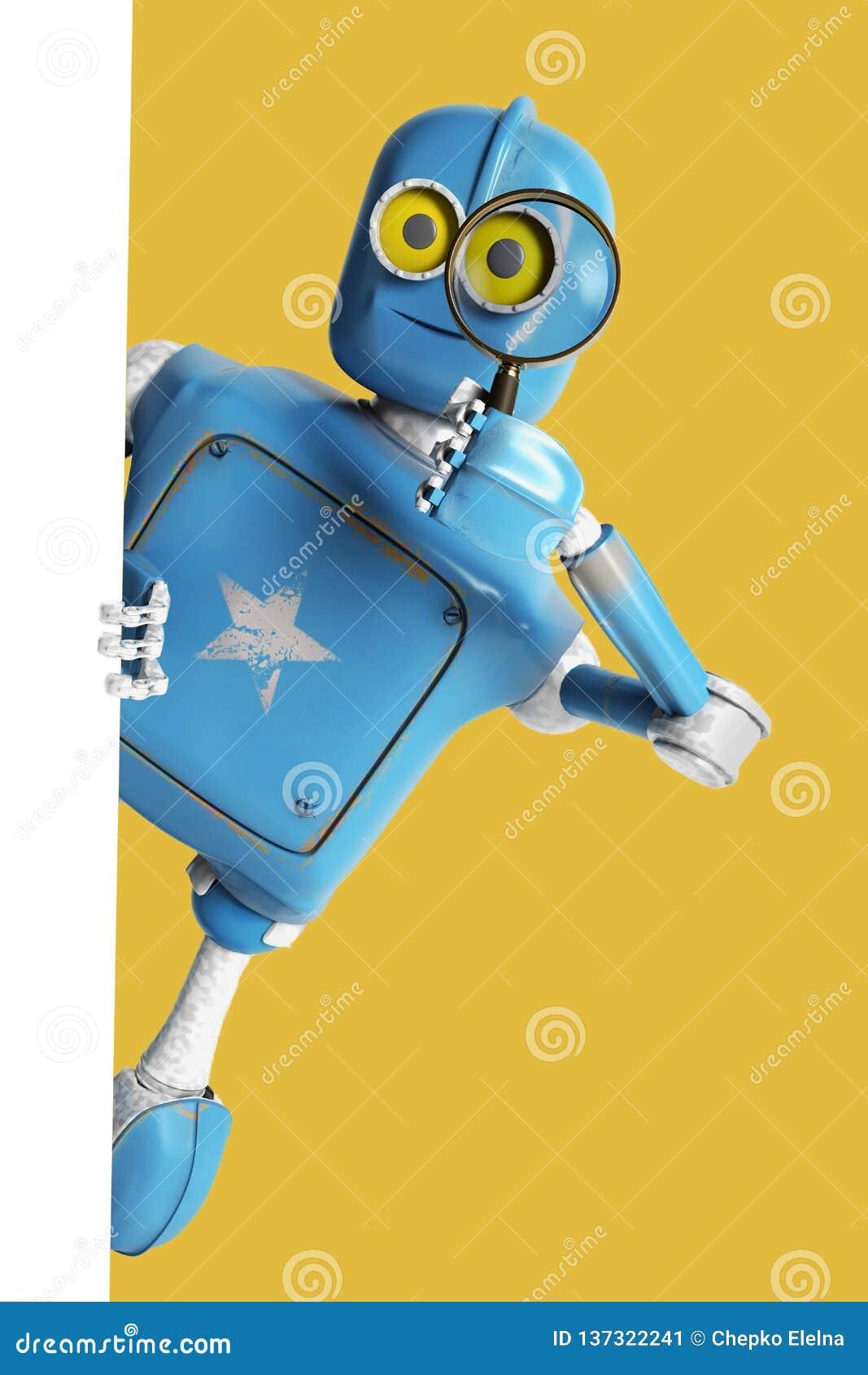 Mirada retra del robot a través de una lupa cyborg del vintage
