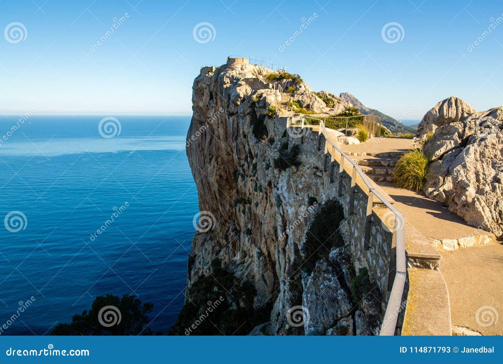Mirador Es Colomer cliff on a sunny day, Majorca, Spain