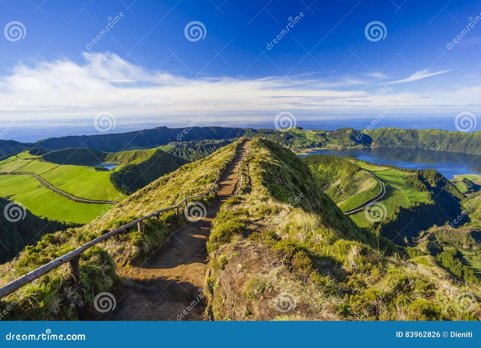 从Miradouro da Boca的看法做地域,亚速尔群岛,葡萄牙