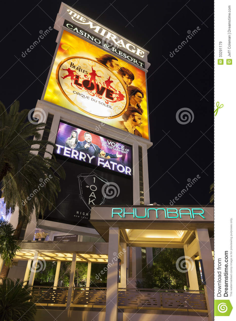 The Mirage Hotel Sign Featuring The Beatles Love Show In Las