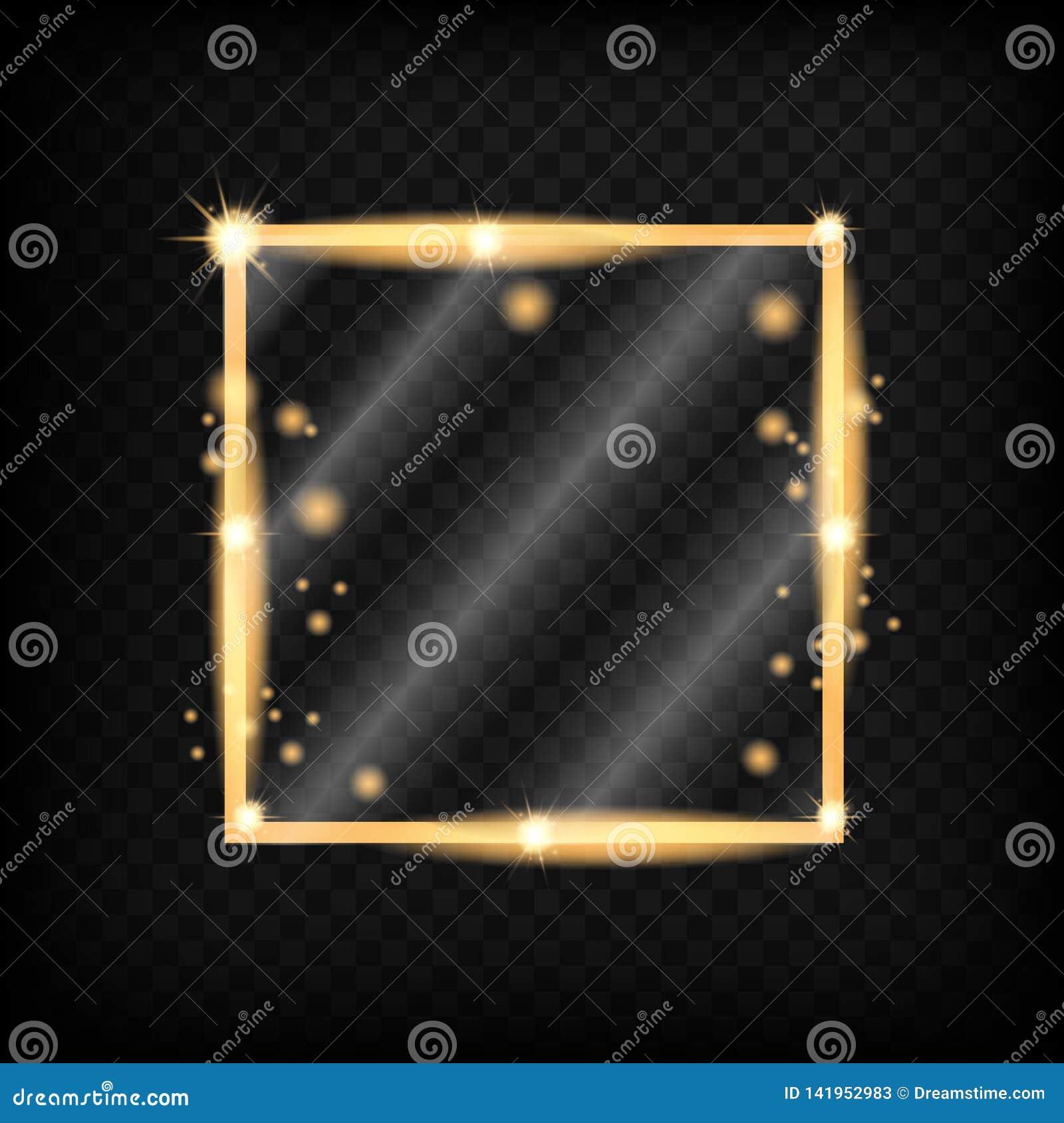 Miroir de maquillage d isolement avec des lumières d or
