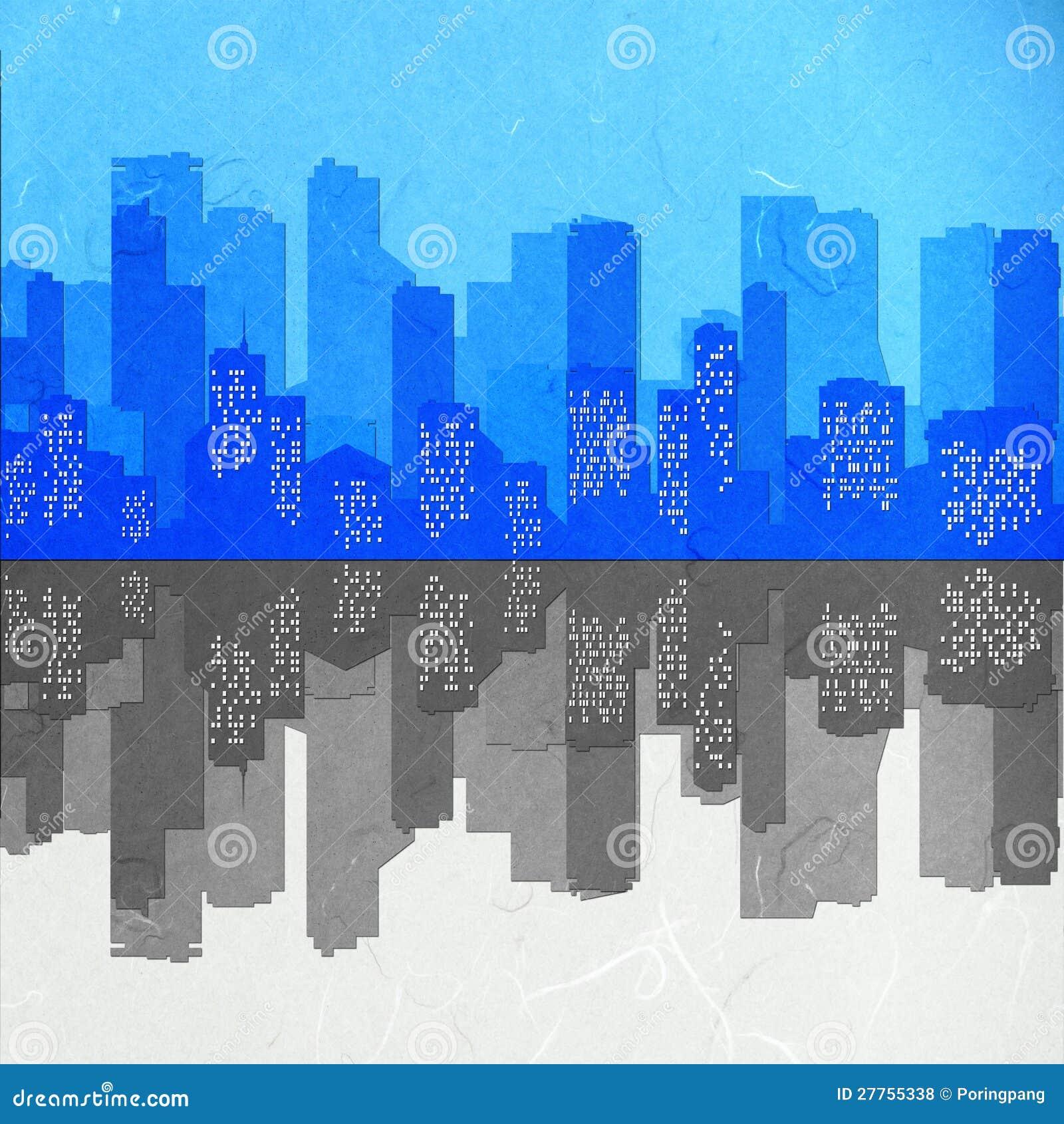 Miroir de paysage urbain de coupure de papier de riz