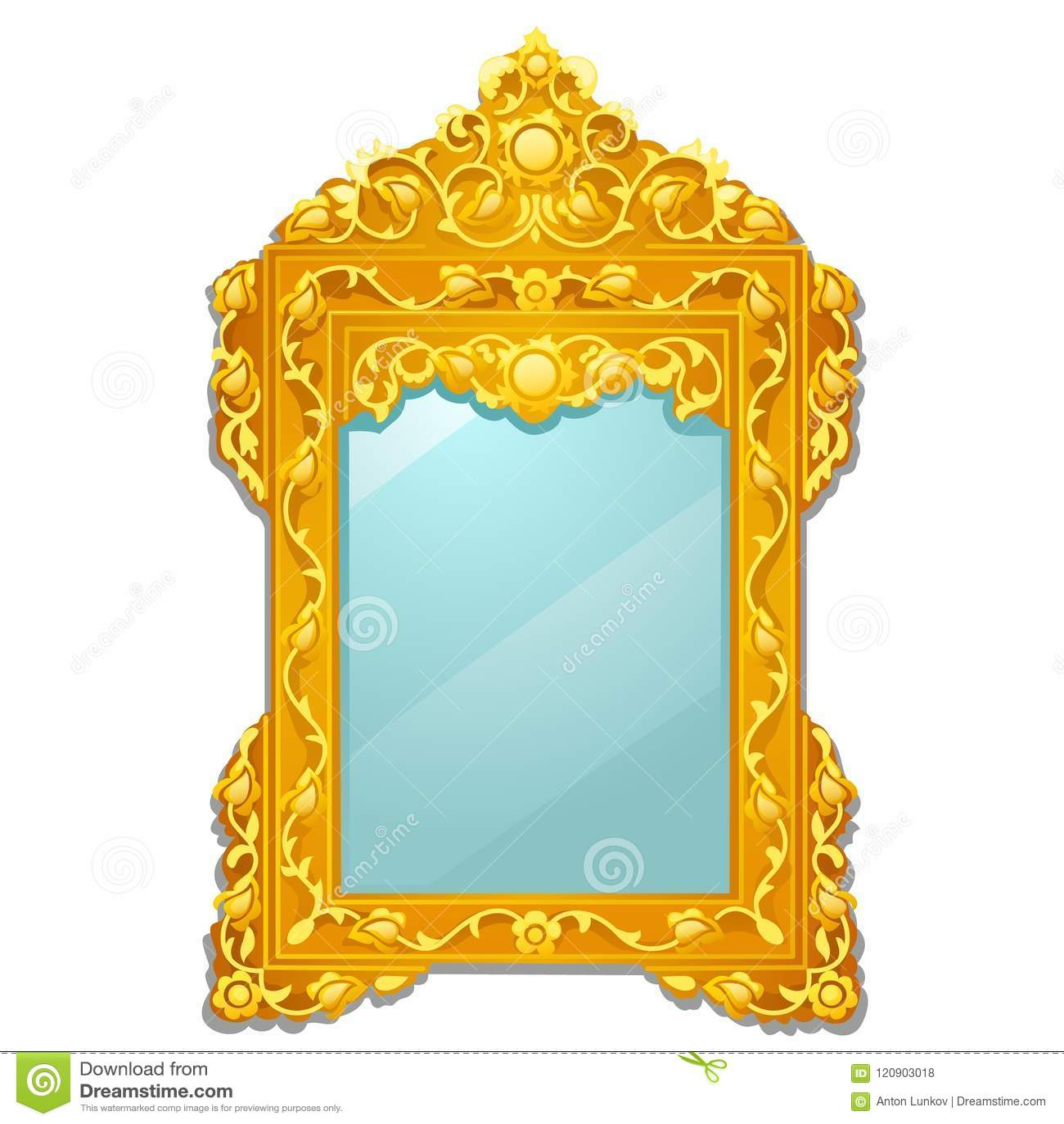 Miroir de vintage avec le cadre fleuri fleuri d or d isolement sur le fond blanc Illustration de plan rapproché de bande dessinée