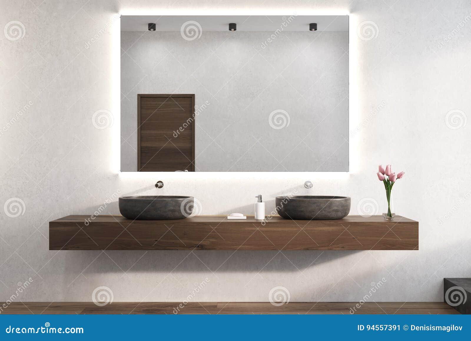 Salle De Bain Mur Blanc ~ miroir sur un mur blanc de salle de bains viers illustration stock