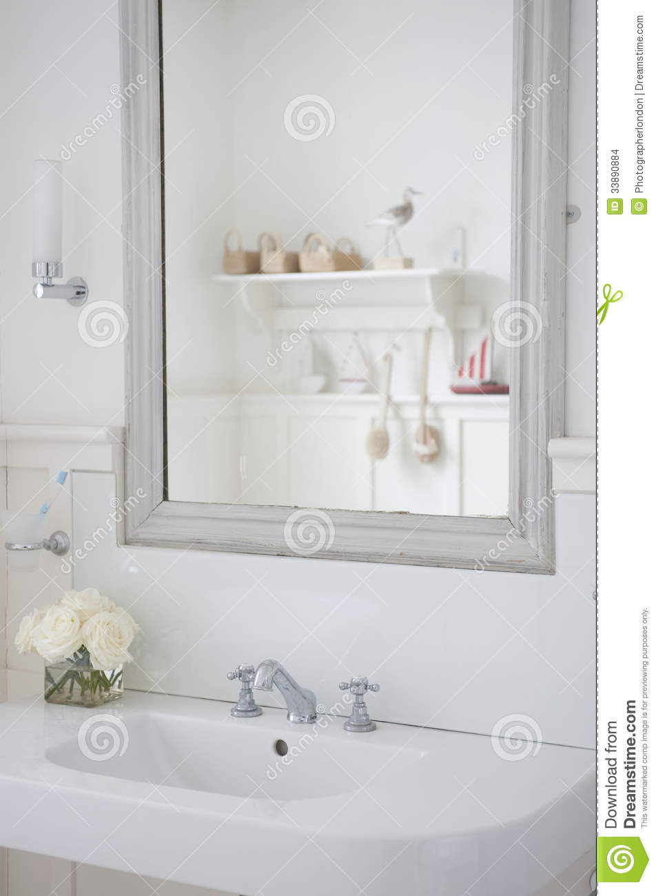 Mirror above bathroom sink stock images image 33890884