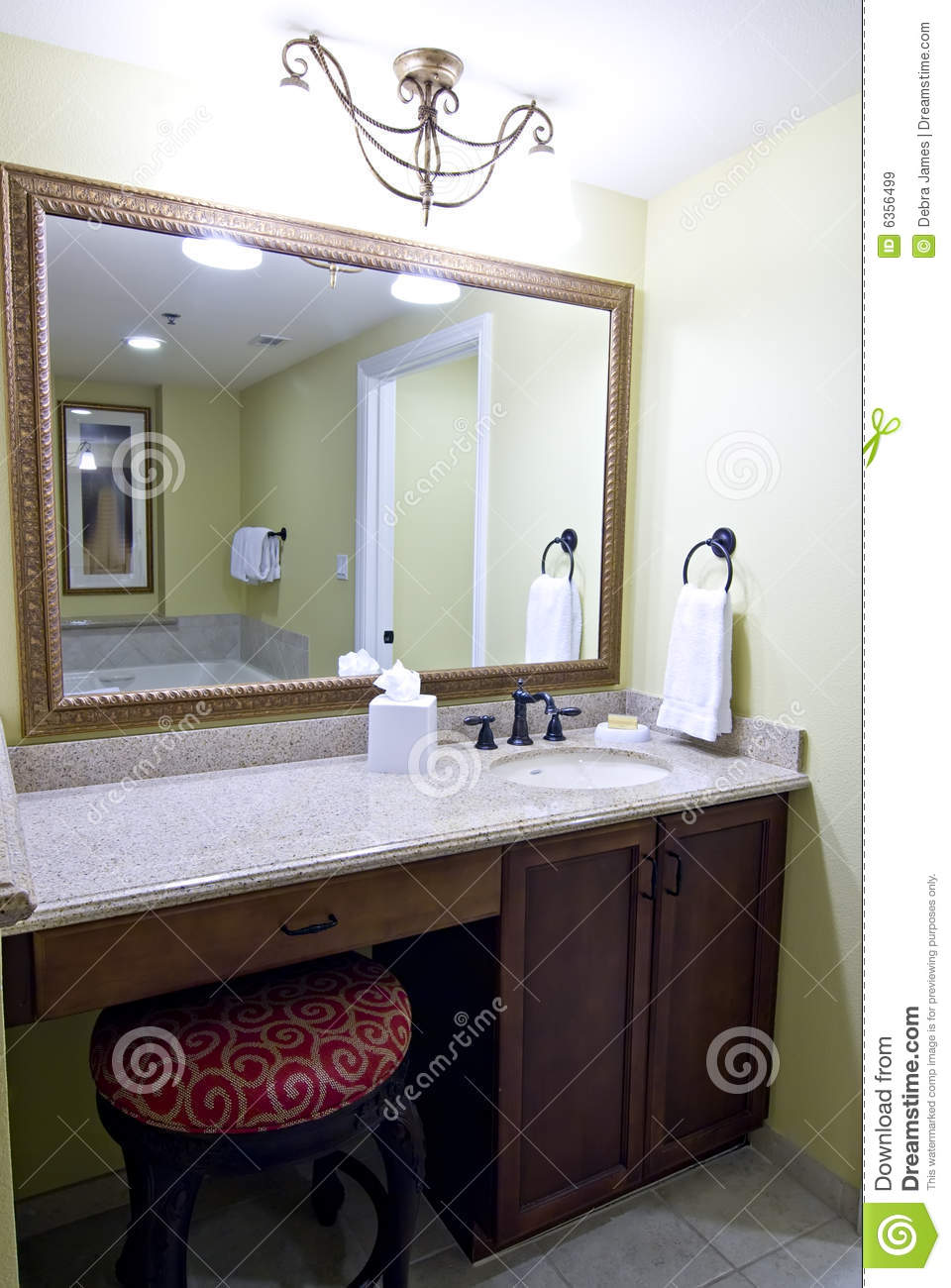 Mirror above bathroom vanity stock image image of - Round mirror over bathroom vanity ...