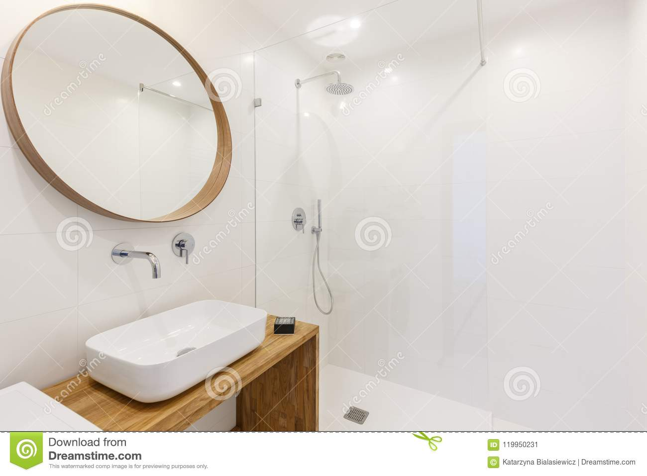 Mirror Above Washbasin In White Bathroom Interior With Lights An ...