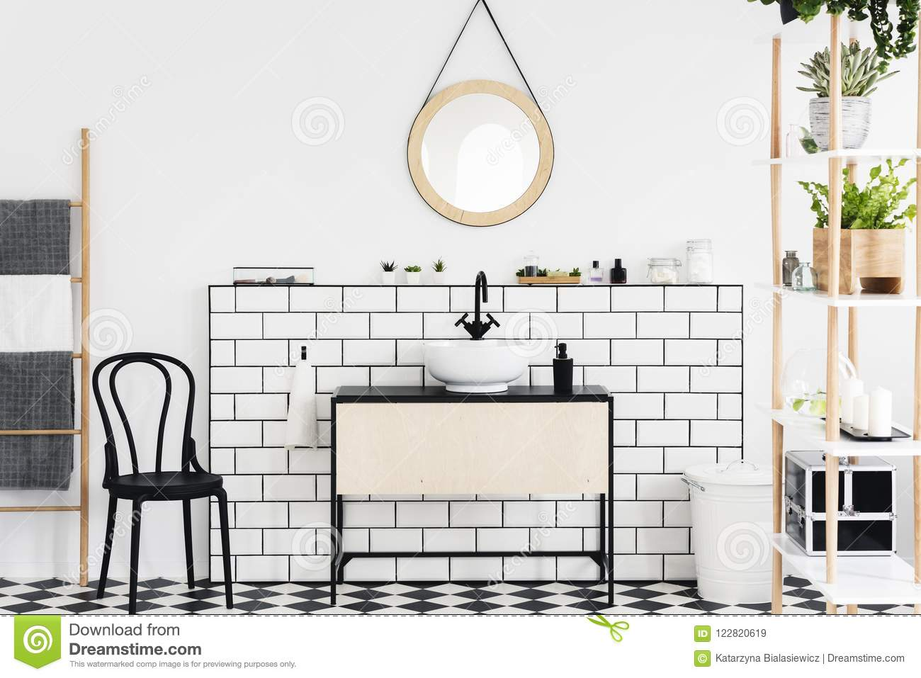 Mirror Above Washbasin In White Bathroom Interior With Plants And Black Chair Next To Ladder Real Photo Stock Image Image Of Checkered Wooden 122820619