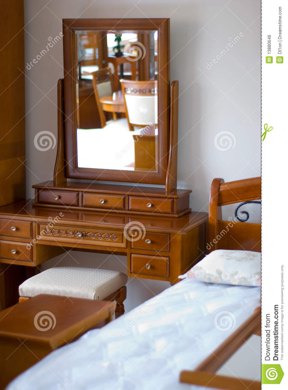 mirror bed furniture in bedroom royalty free stock image image