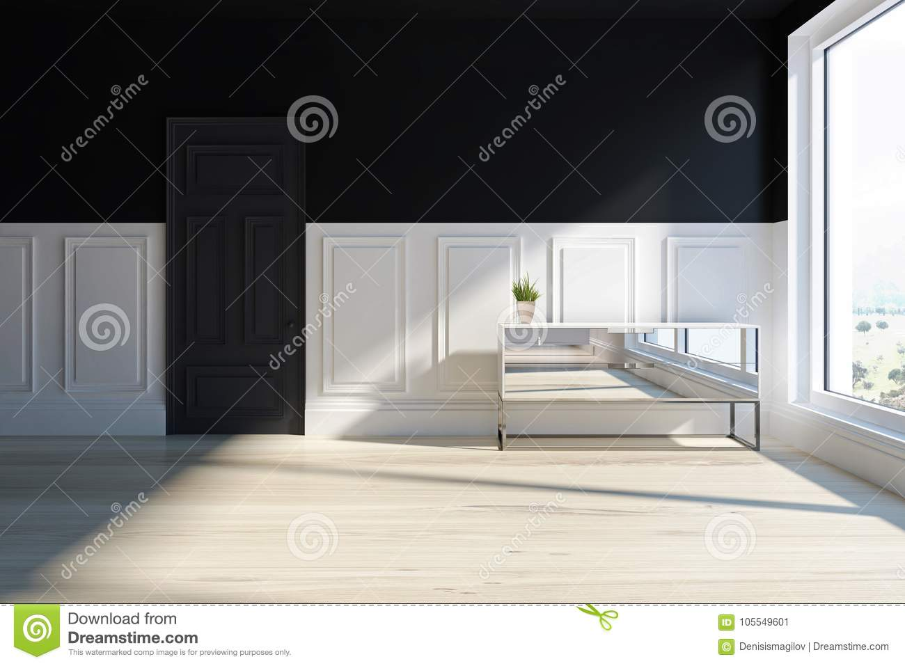 Mirror Chest Of Drawers In Living Room Stock Illustration