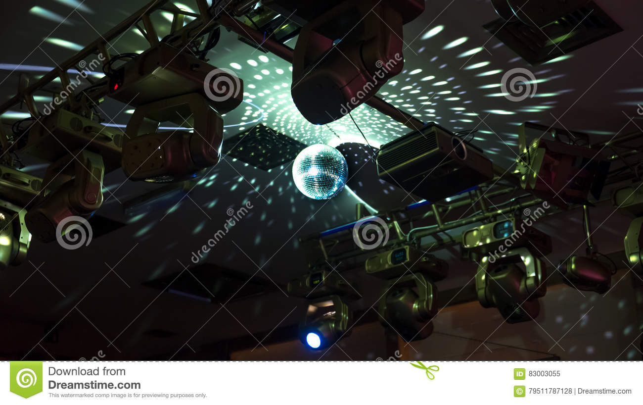 Mirror disco ball with reflected lights on the ceiling stock image download mirror disco ball with reflected lights on the ceiling stock image image of abstract aloadofball Choice Image