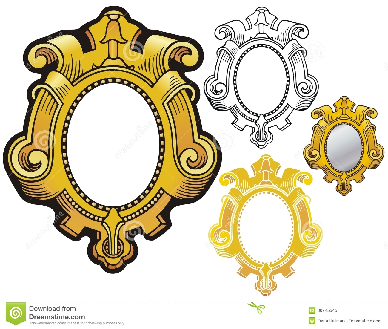 Ornate renaissance style border like a carved, gilded mirror frame.
