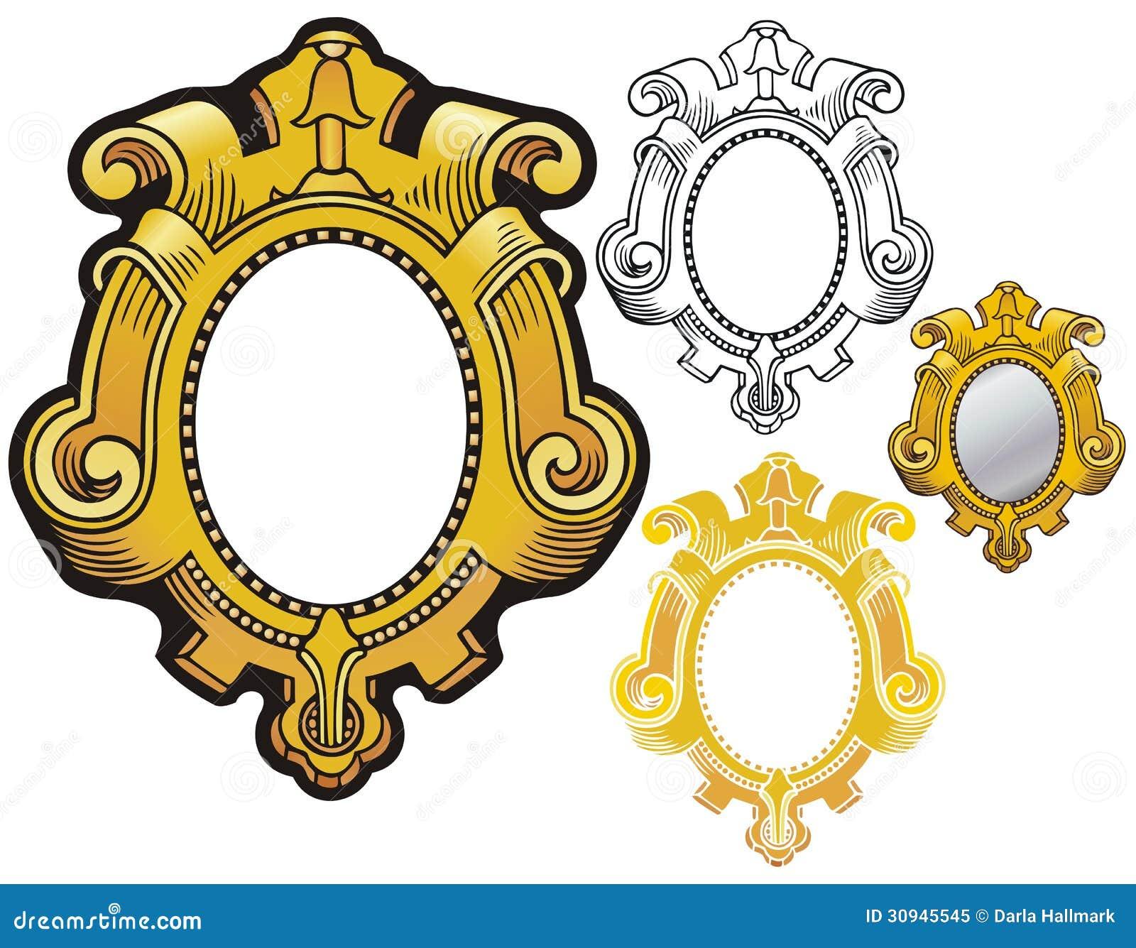 Ornate renaissance style border like a carved, gilded mirror frame.
