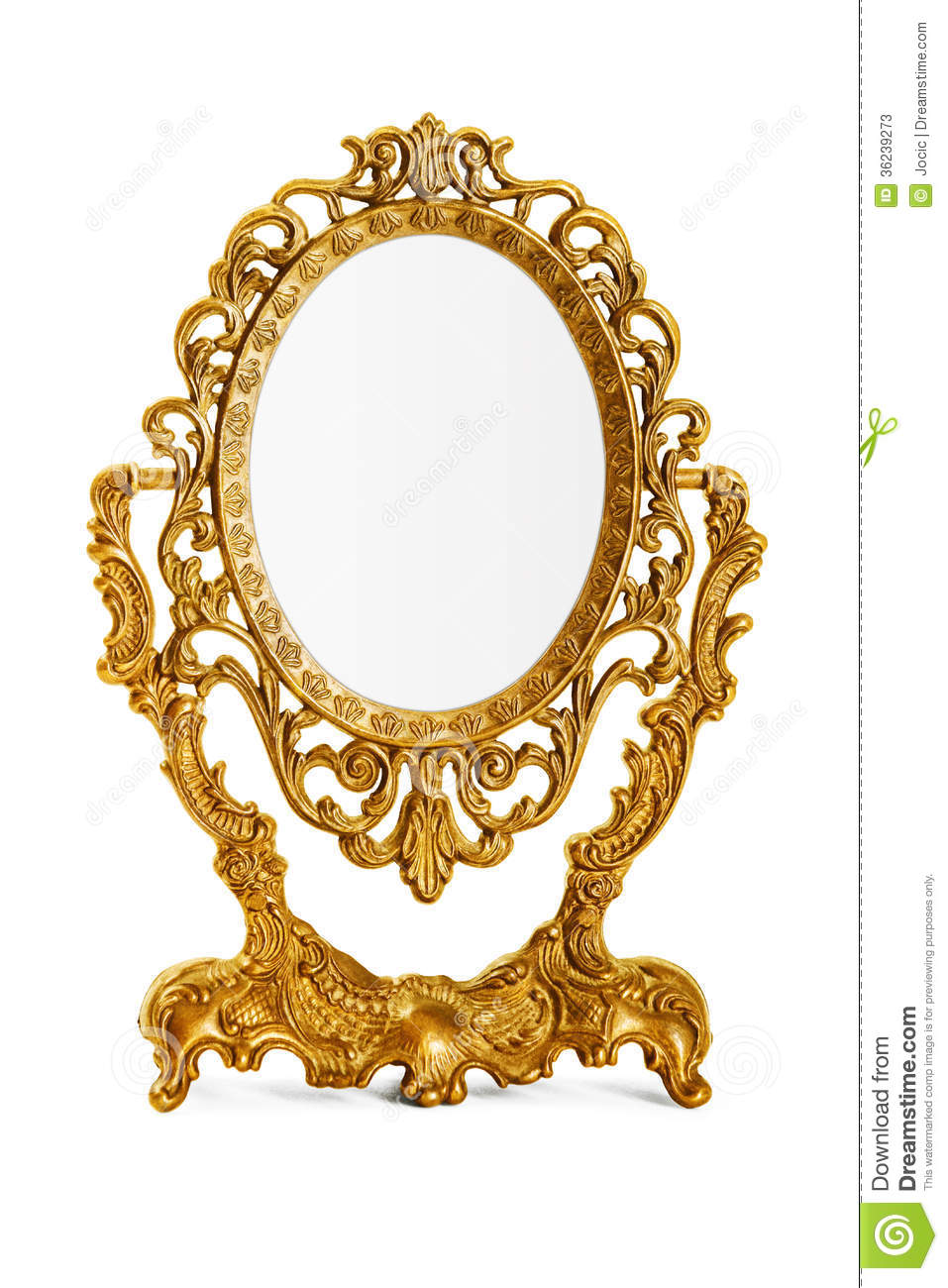 Golden antique mirror on white background, clipping path included.