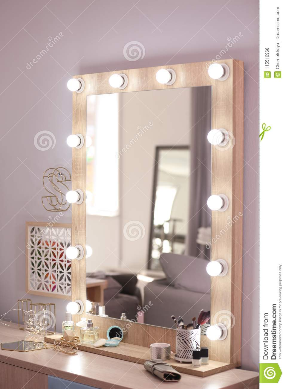 Mirror With Light Bulbs And Cosmetic Products Stock Photo Image Of